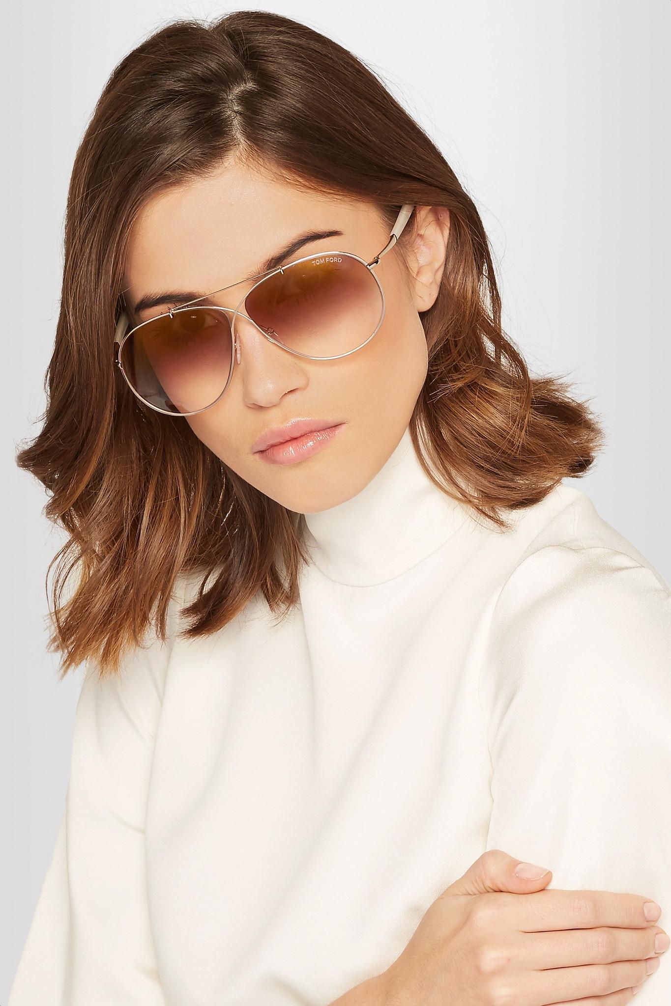 6404c5a3e63 Lyst - Tom Ford Eva Aviator-style Rose Gold-tone Sunglasses