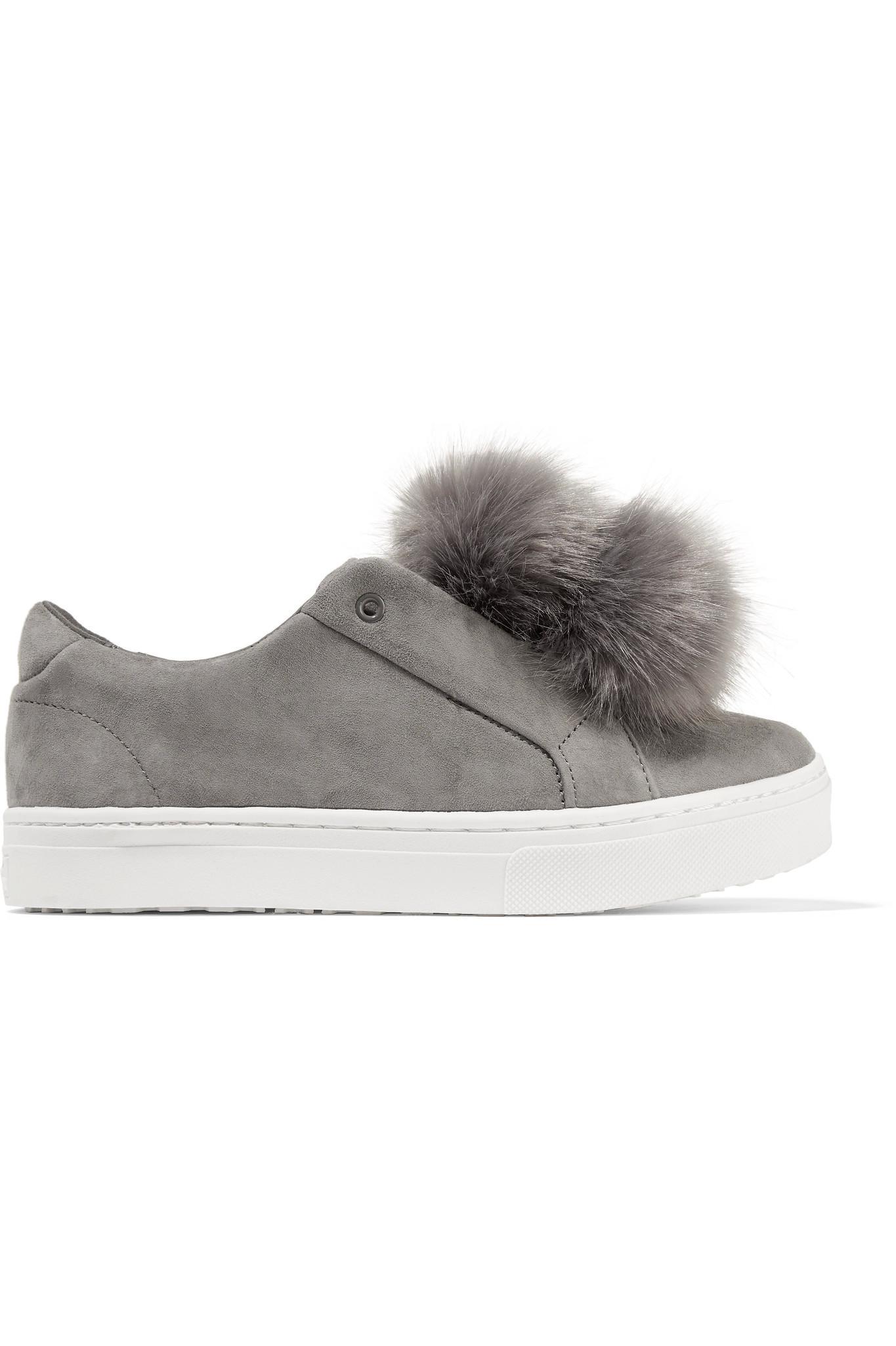 db2e4735640d Lyst - Sam Edelman Leya Faux Fur-embellished Suede Slip-on Sneakers ...