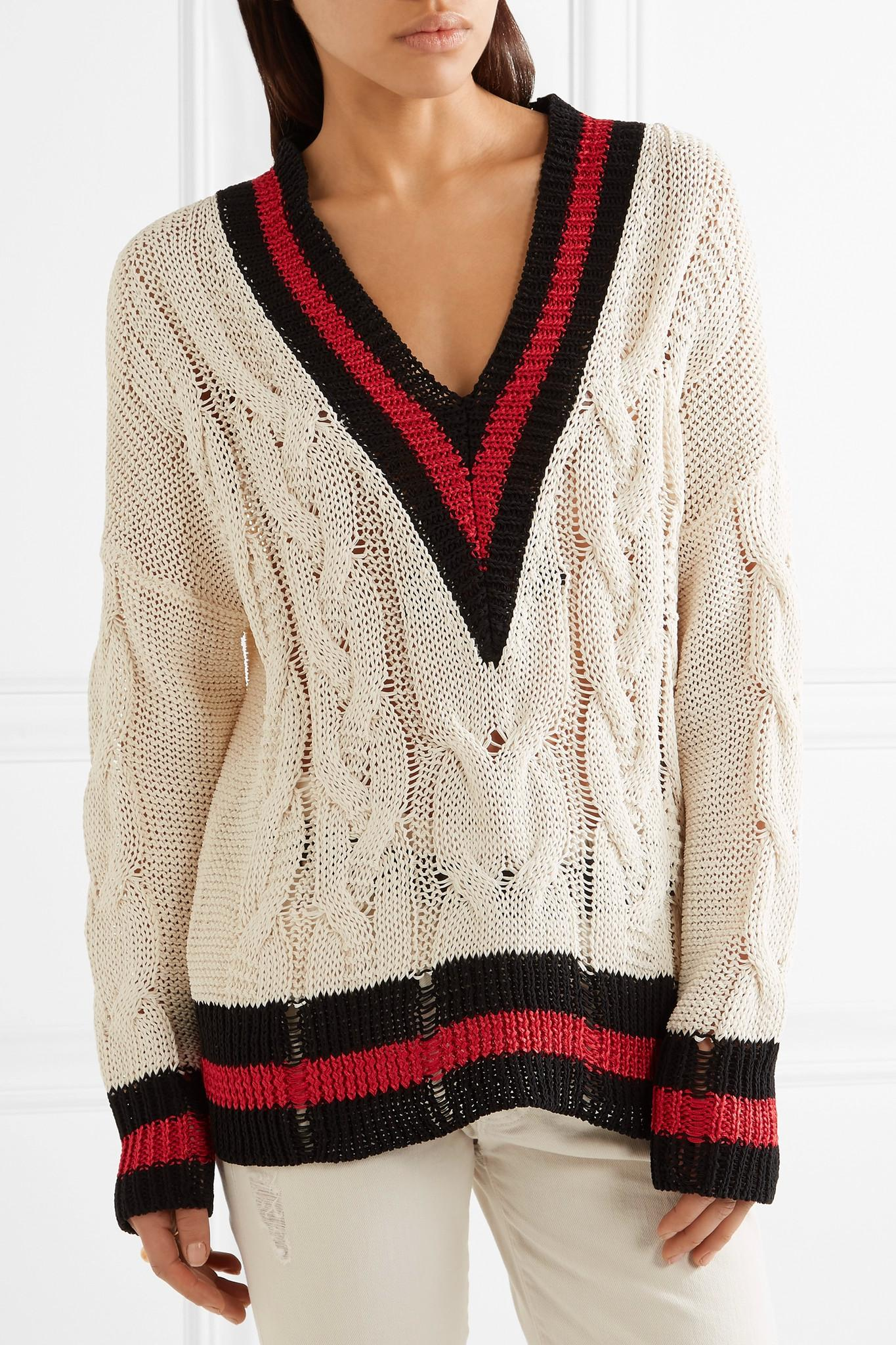 Lyst Rag Amp Bone Emma Oversized Striped Cable Knit Cotton