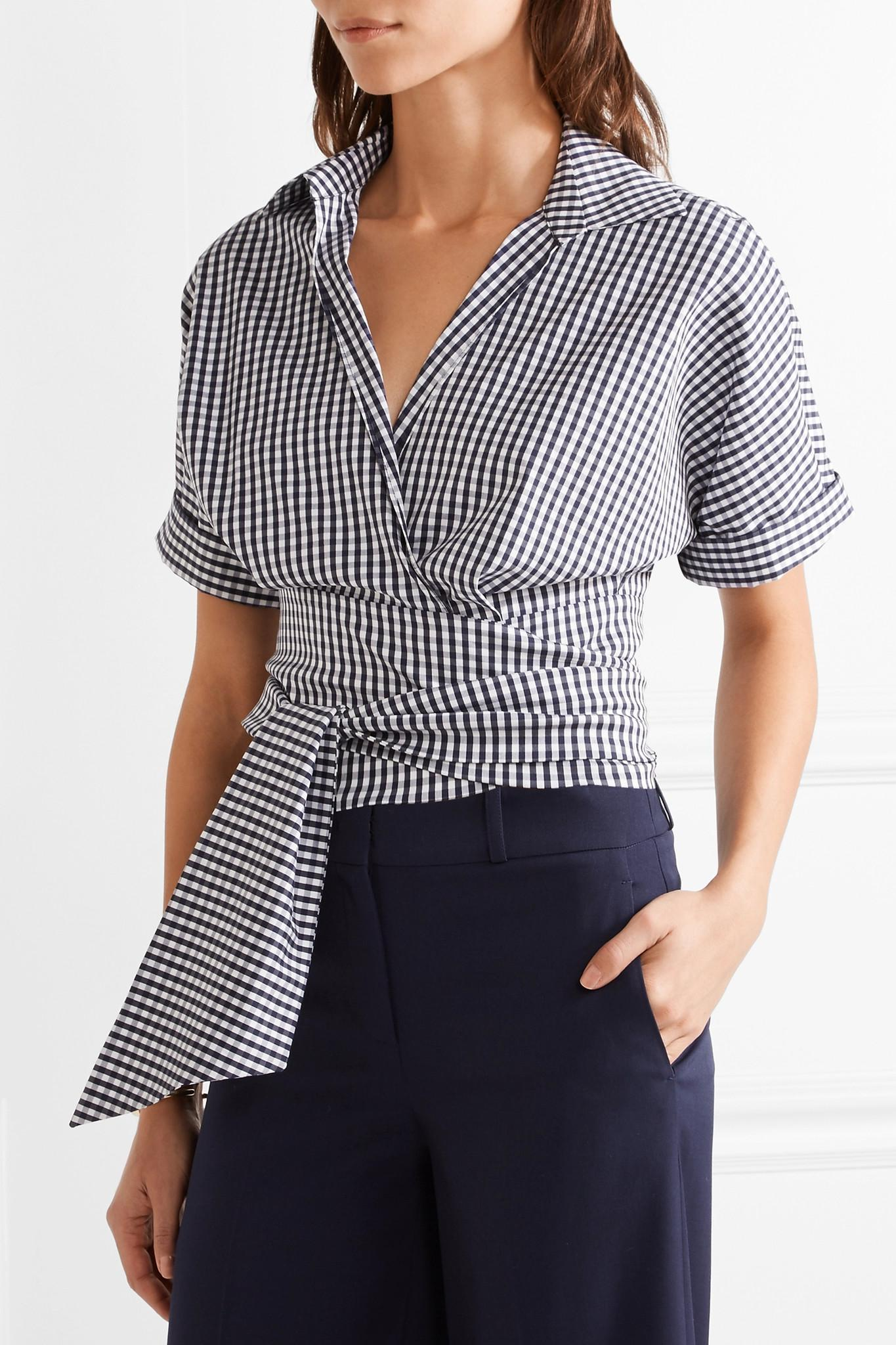 Lyst Michael Kors Cropped Gingham Cotton Blend Poplin