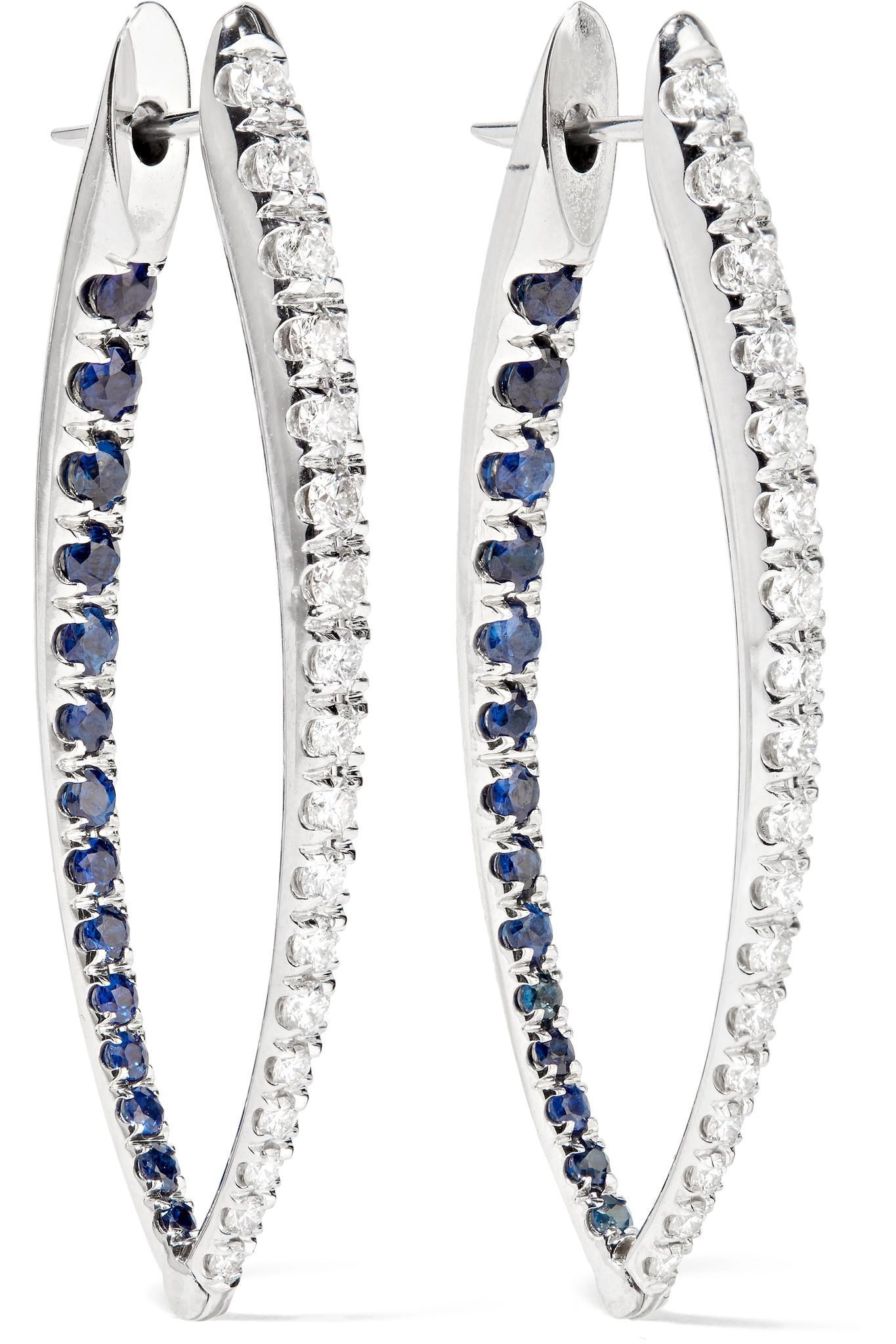 Melissa Kaye Christina 18-karat White Gold, Diamond And Sapphire Earring