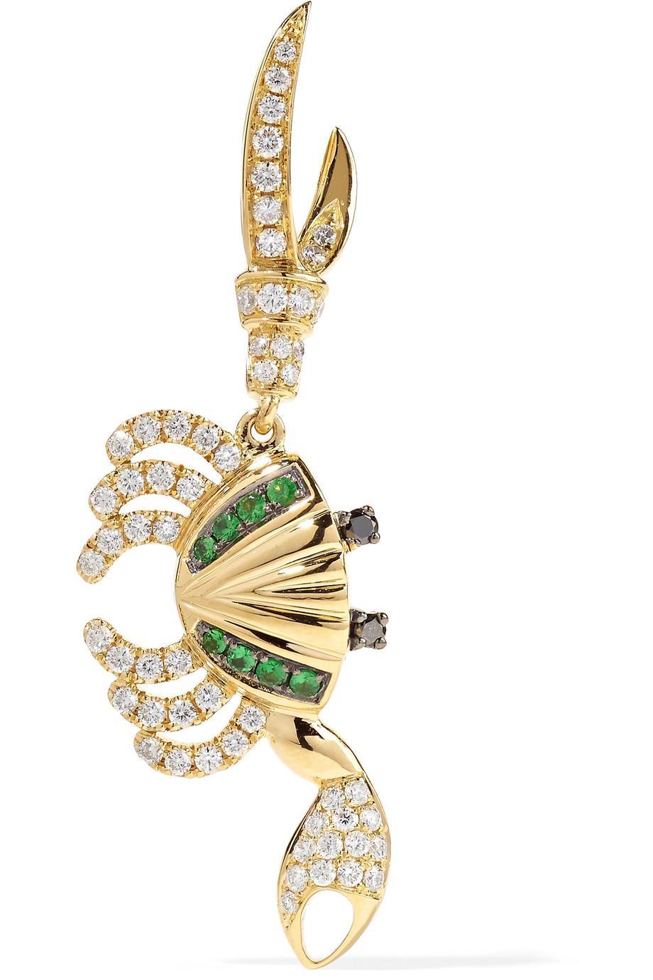Yvonne Léon 18-karat Gold, Diamond And Tsavorite Earring