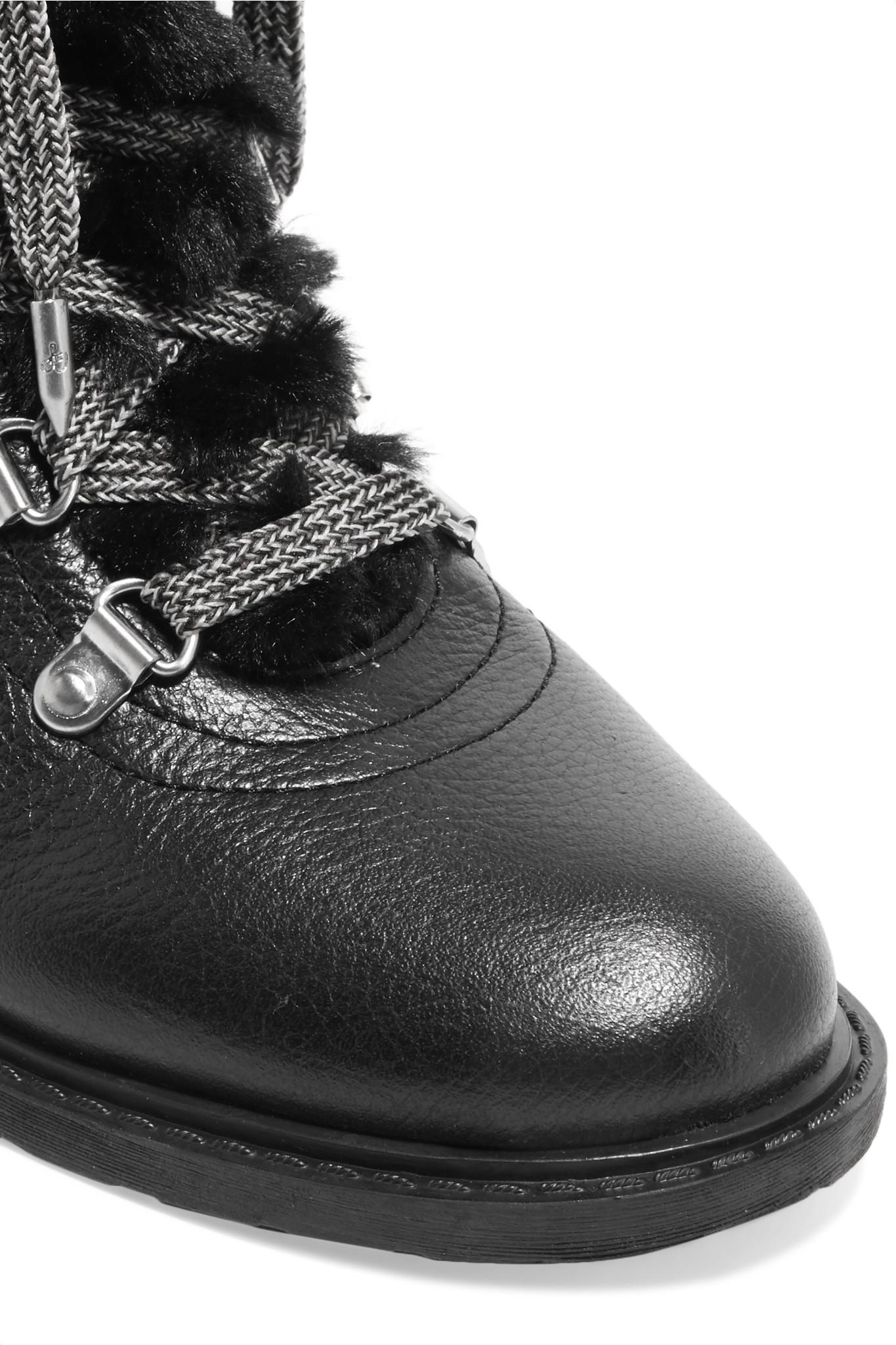 095322dd5f1d Lyst - Sam Edelman Darrah Faux Fur-trimmed Textured-leather Ankle ...