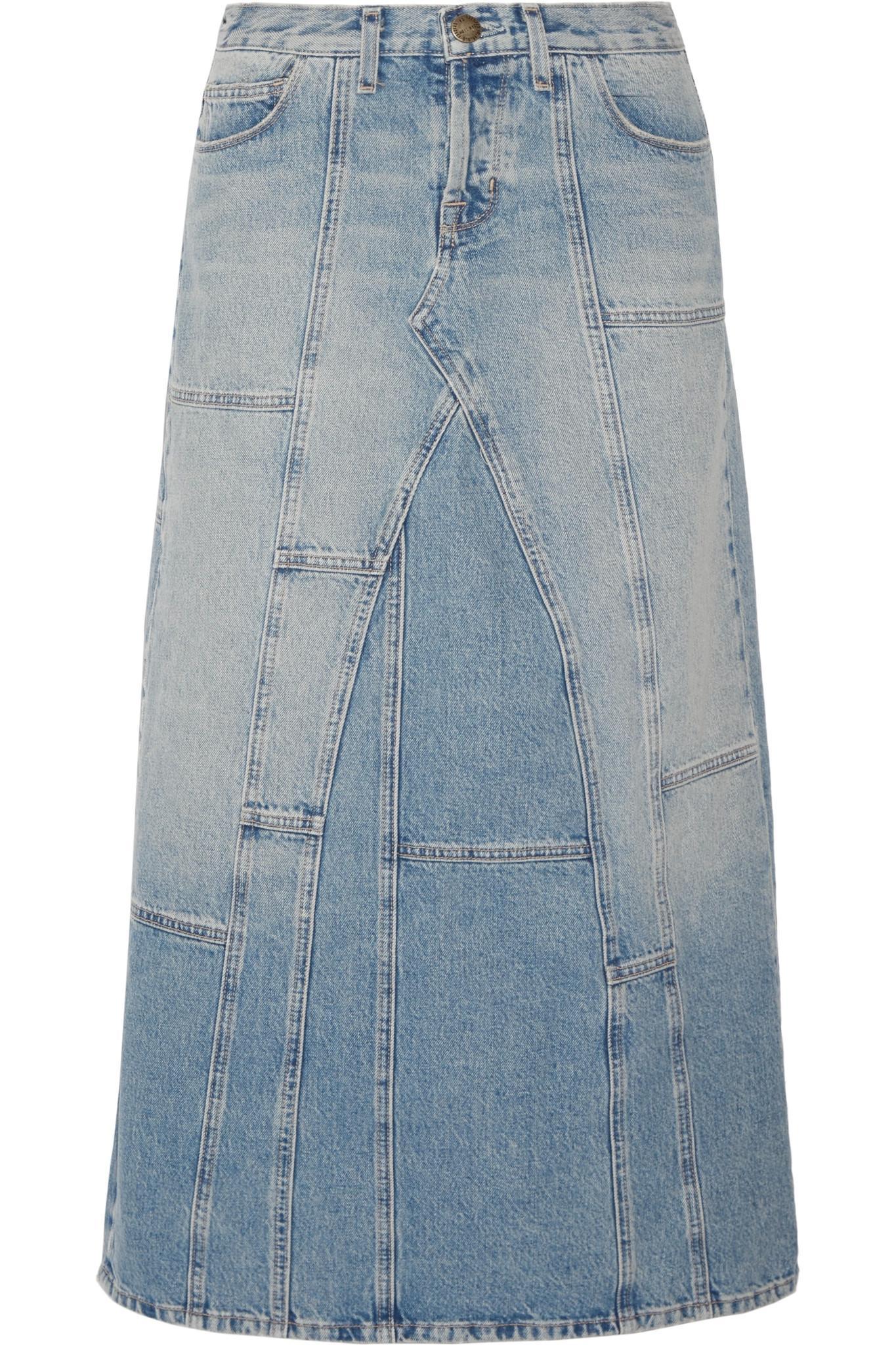 current elliott the diy patchwork denim maxi skirt in blue