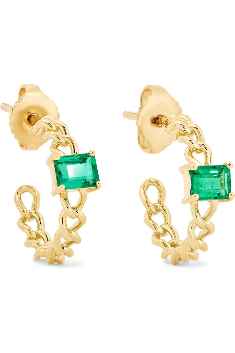 Jemma Wynne 18-karat Gold Emerald Hoop Earrings ffF8e