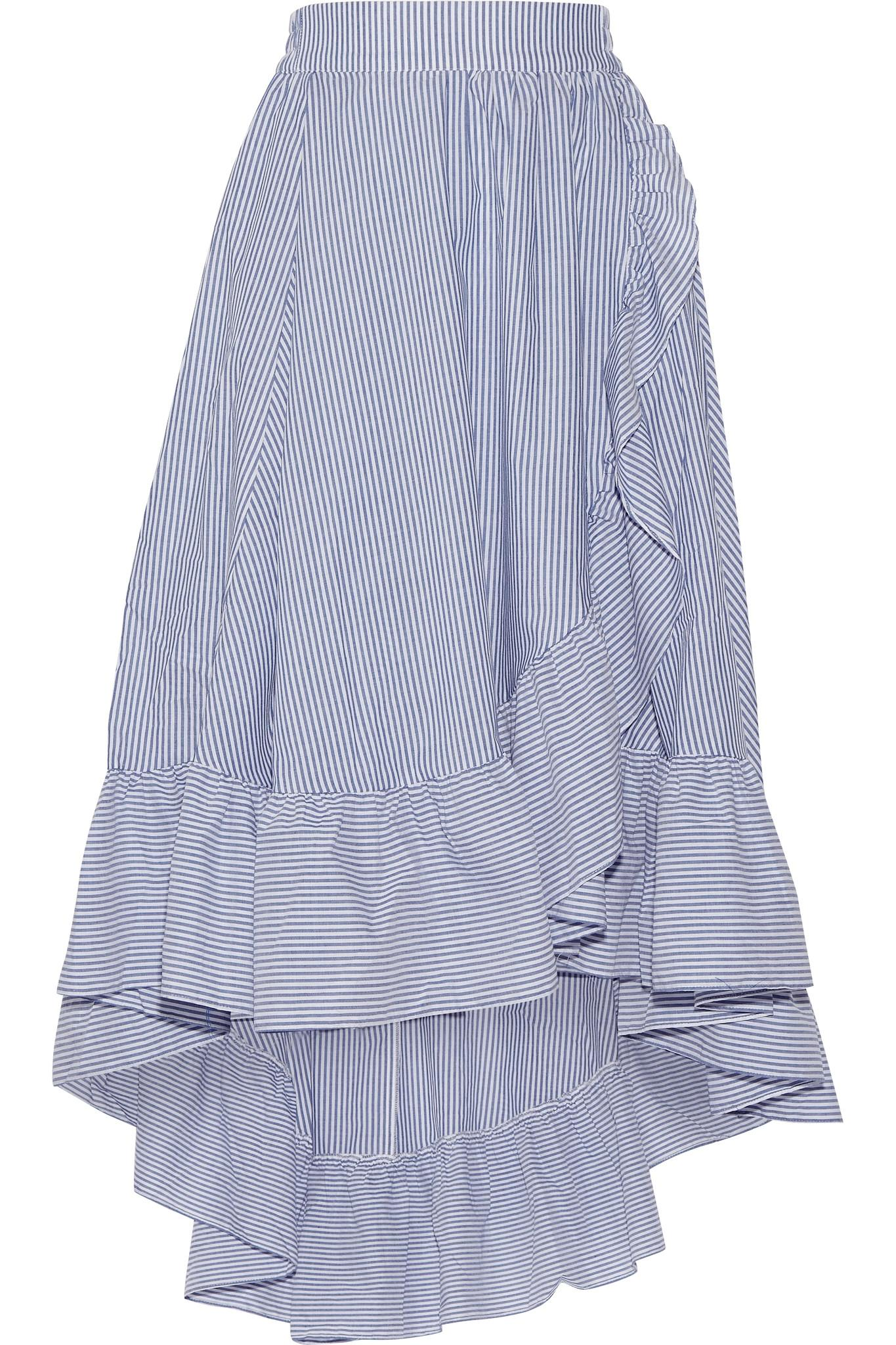 maje wrap effect ruffled striped poplin midi skirt in blue