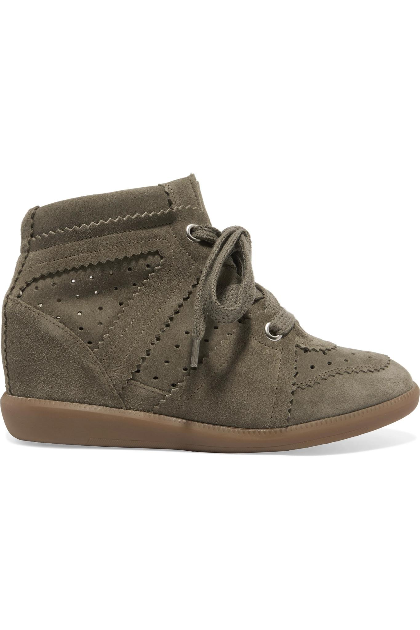 Isabel Marant 201 Toile Bobby Suede Wedge Trainers In Green