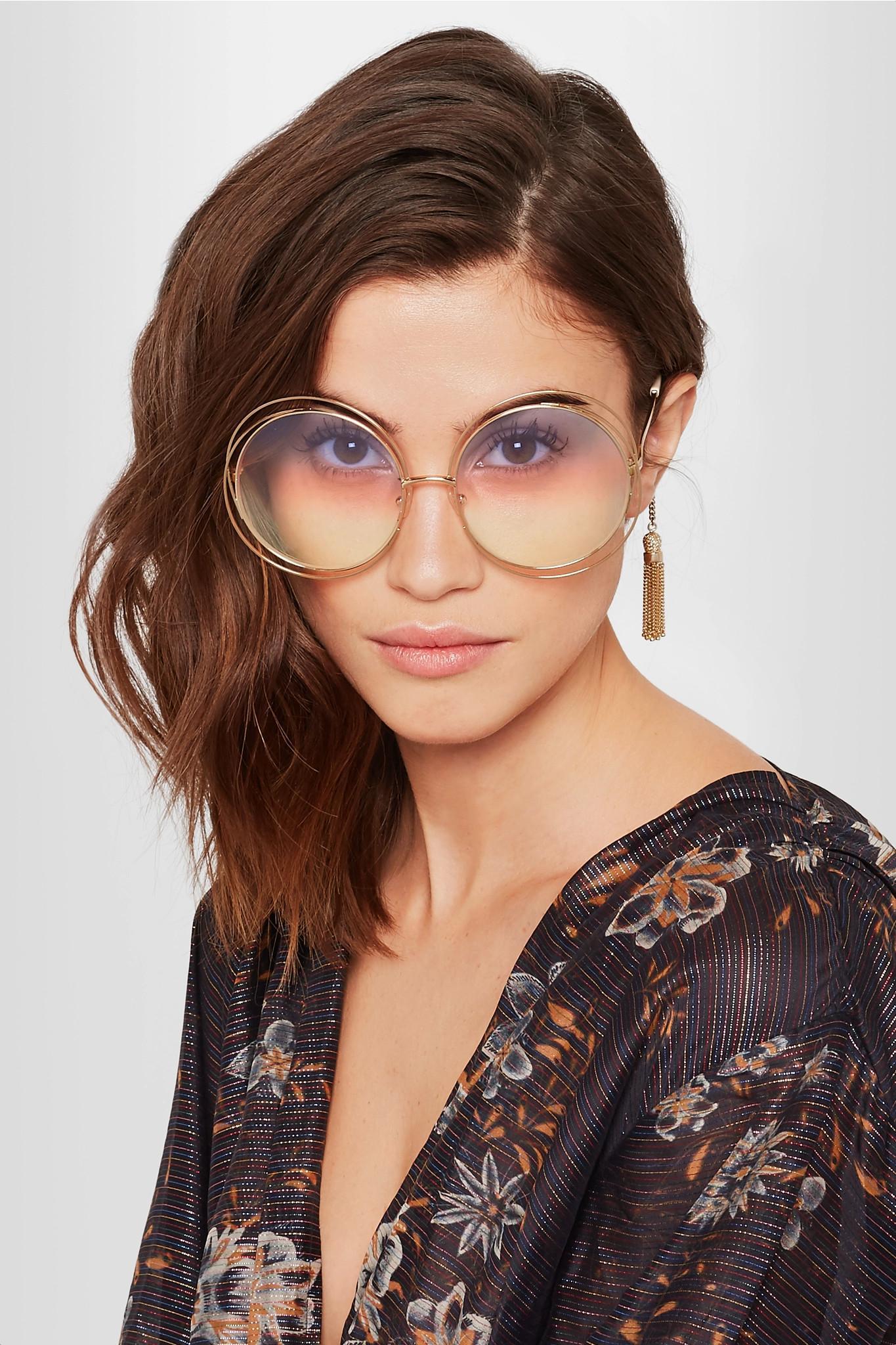 9af720db33ad Chloé Carlina Round-frame Gold-tone Sunglasses in Metallic - Lyst