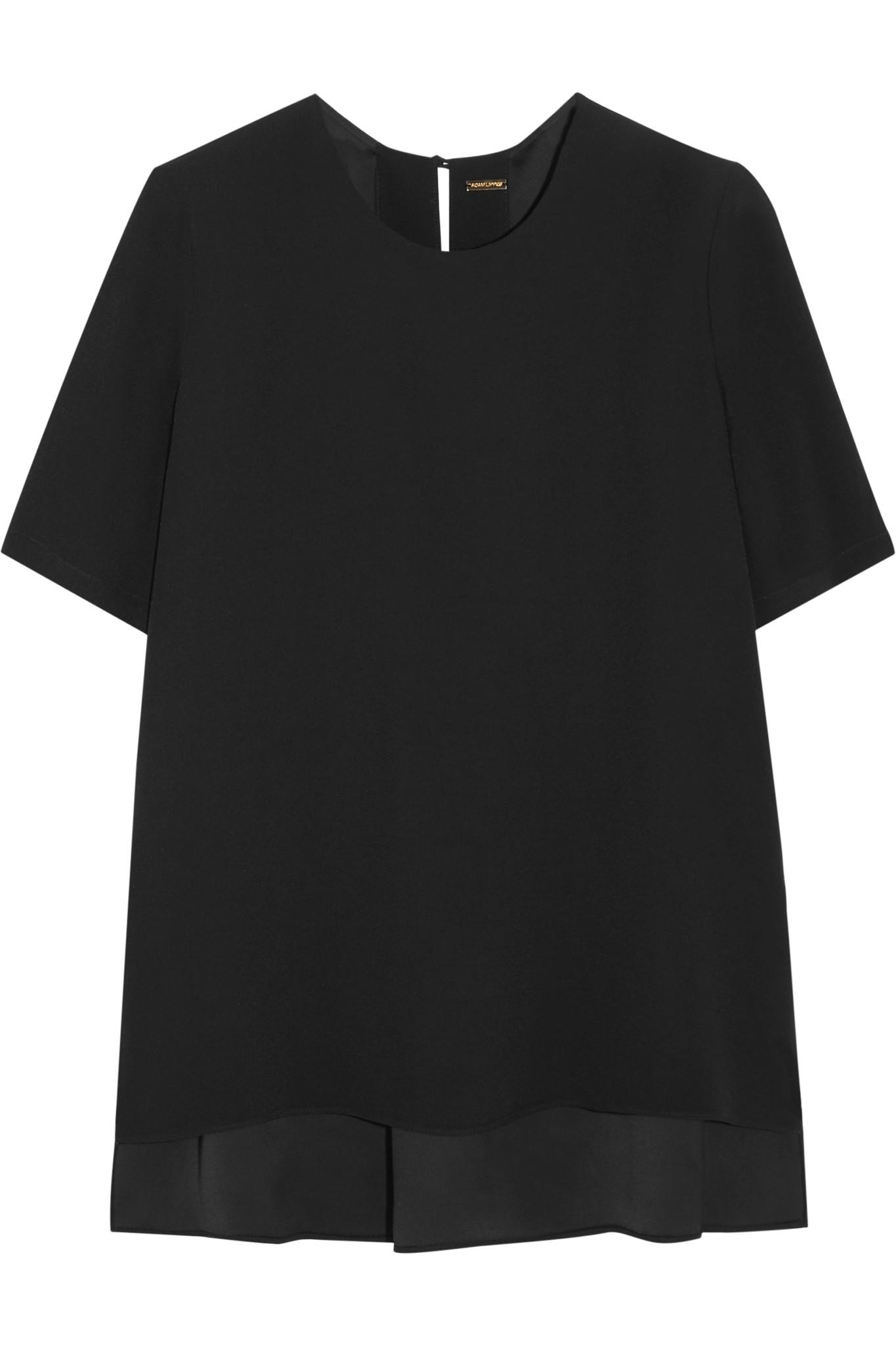 Adam lippes crepe t shirt in black save 17 lyst for Adam lippes t shirt
