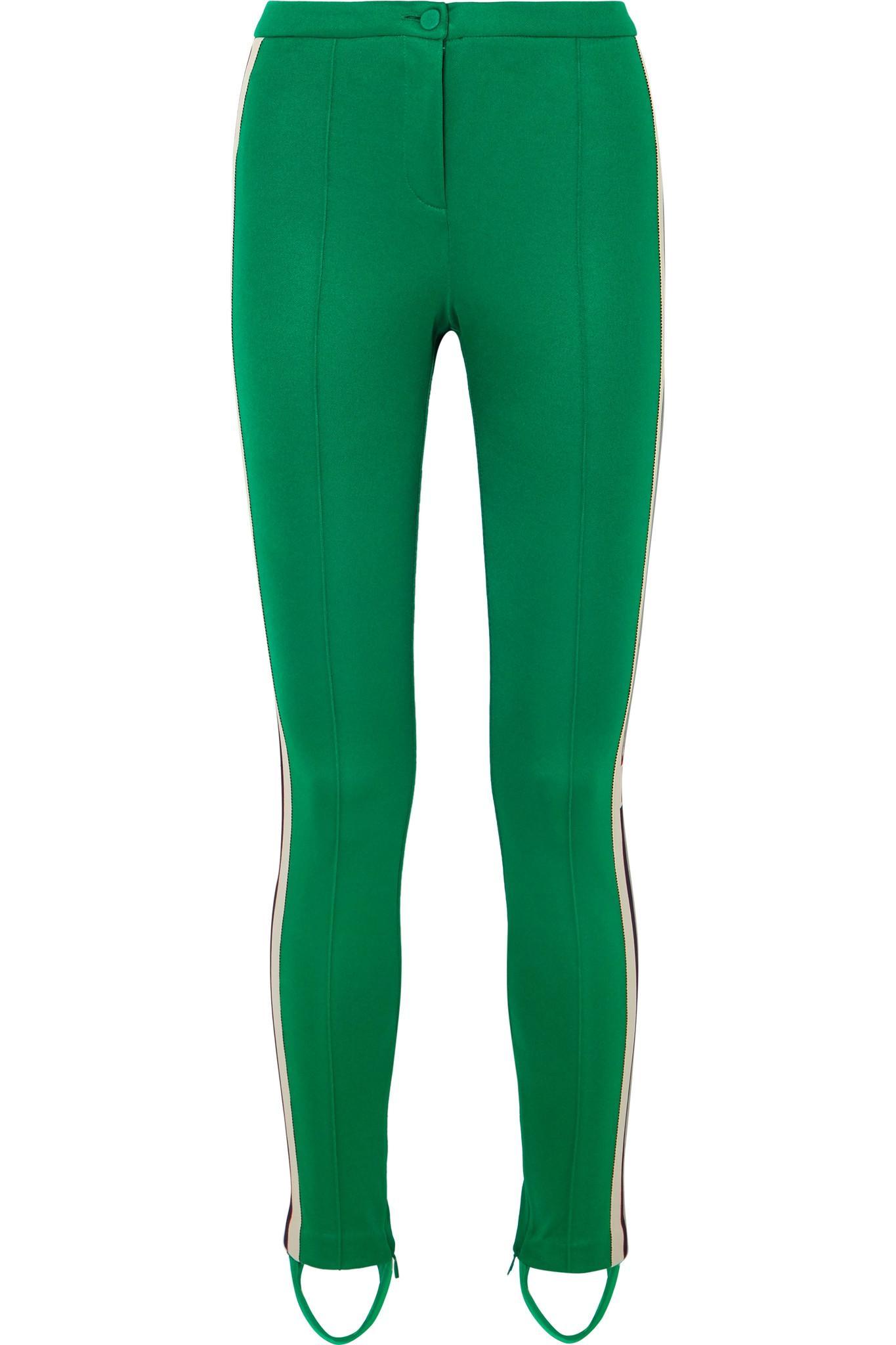 86a4adf0e497 Lyst - Gucci Striped Tech-jersey Stirrup Leggings in Green