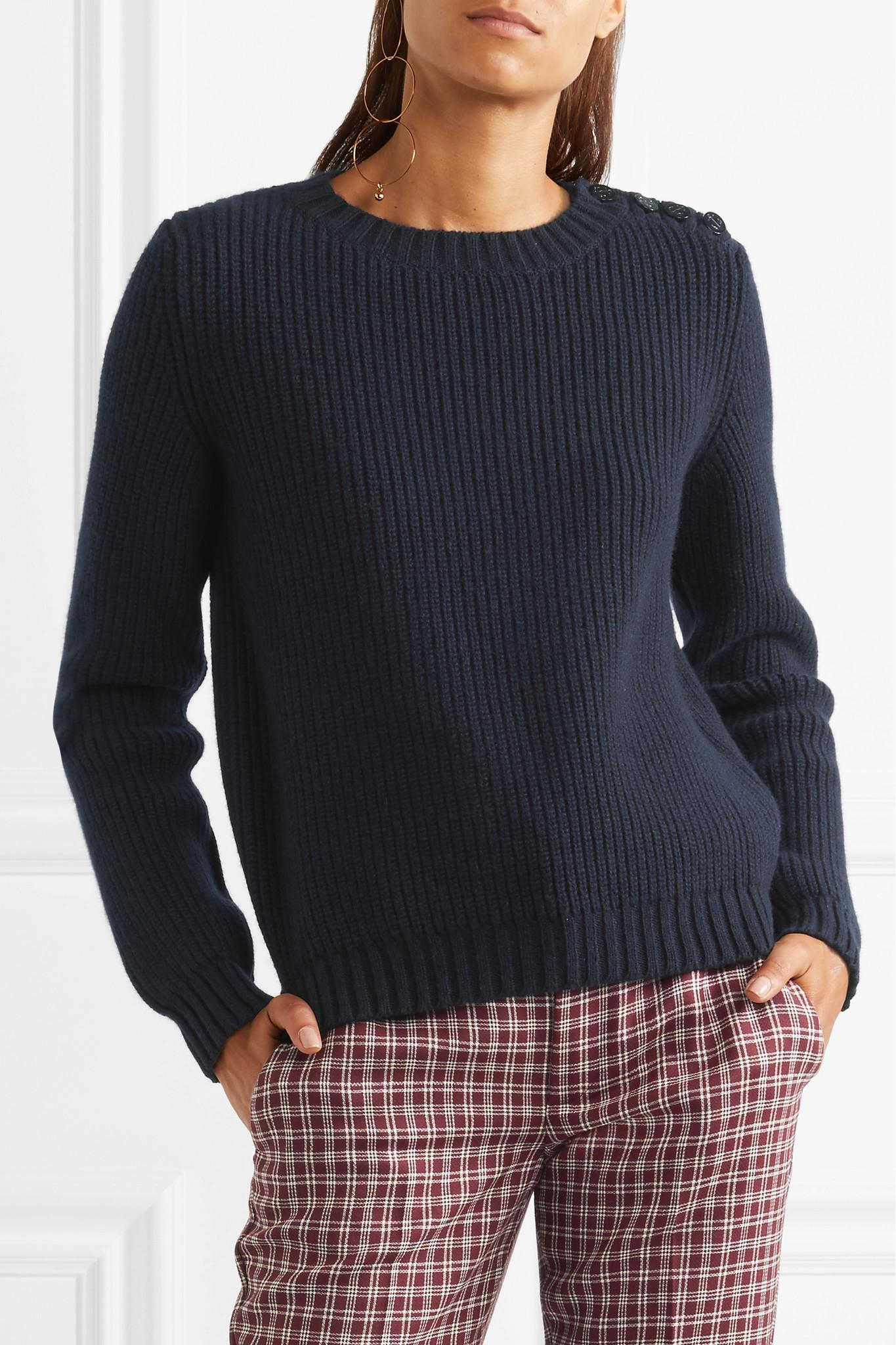 A.p.c. Joelle Button-detailed Ribbed Wool-blend Sweater in Blue | Lyst