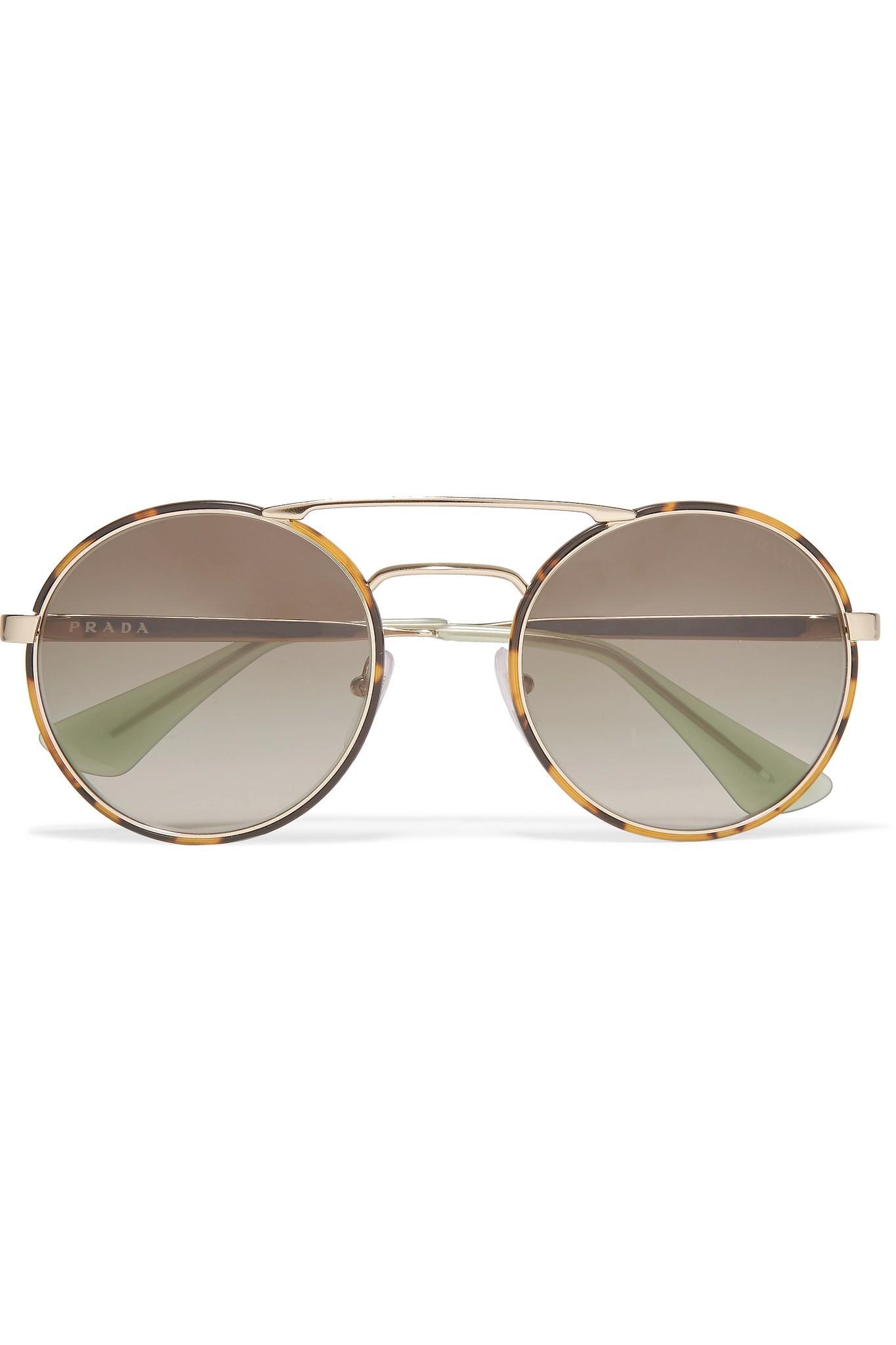 7d7cd9f909 Lyst - Prada Round-frame Tortoishell Acetate And Gold-tone Sunglasses in  Metallic