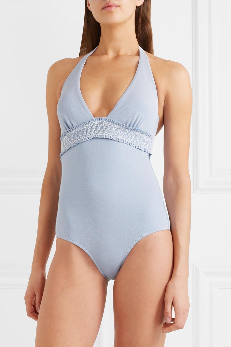 Sale Outlet Cassis Smocked Stretch-piqué Bikini Briefs - Light blue Heidi Klein Affordable Sale New Styles FTHbsUcbG