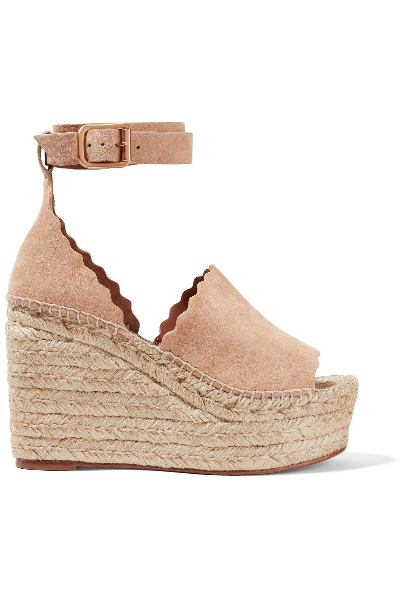 fe6b5398593 Lyst - Chloé Scalloped Suede Espadrille Wedge Sandals in Natural