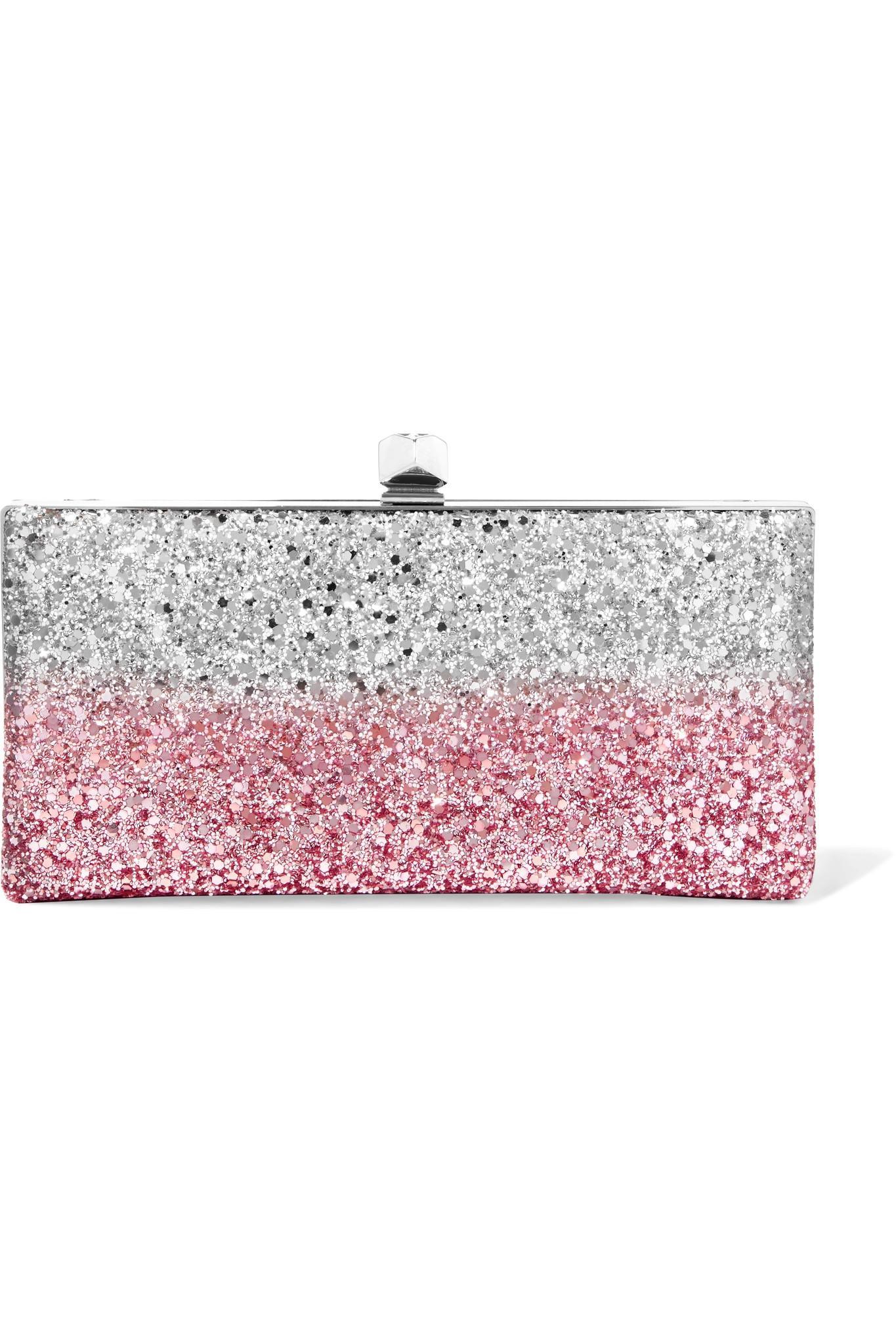 J Box Glittered Canvas Clutch - Silver Jimmy Choo London hAkks