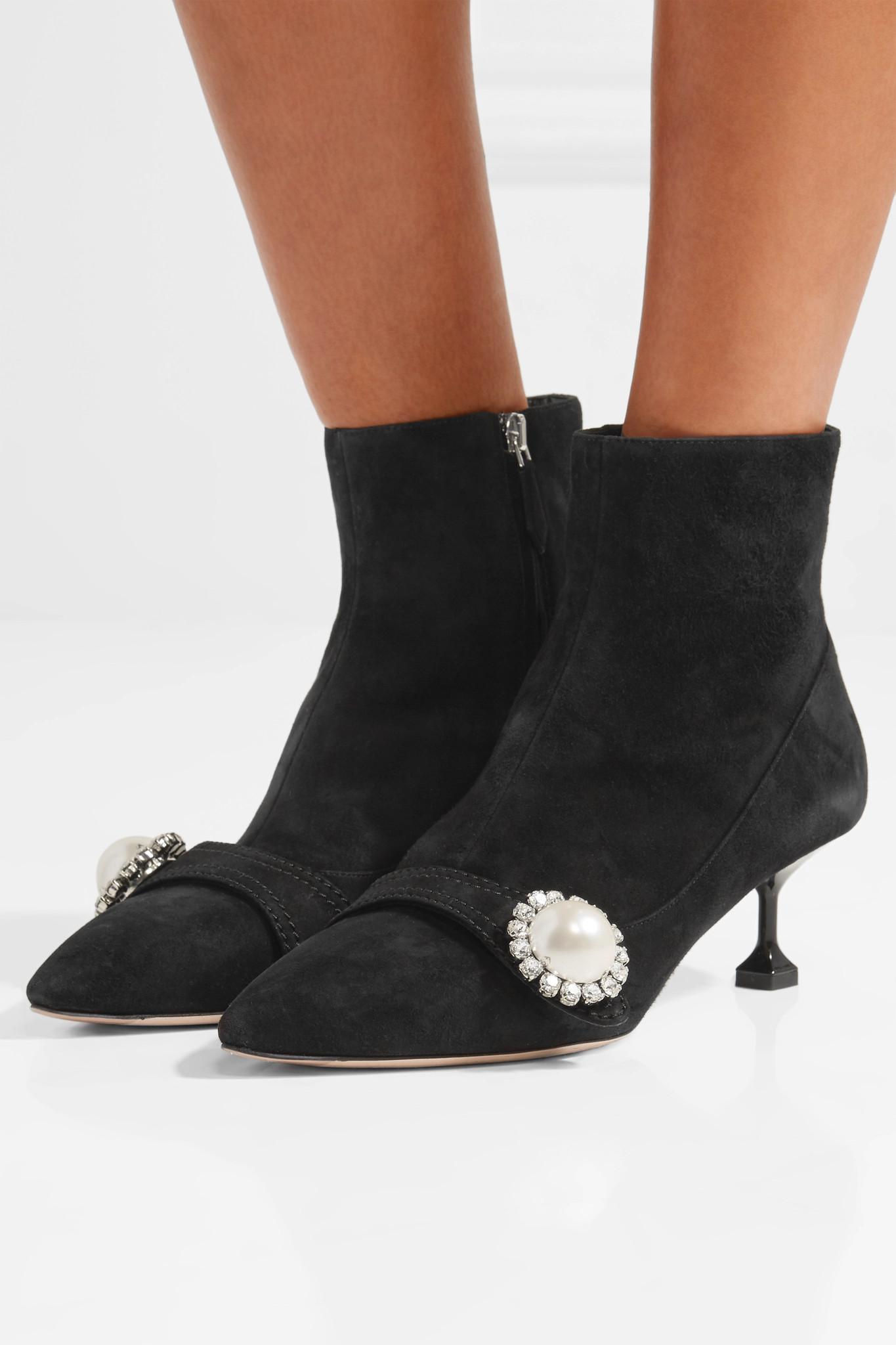 Miu Miu Faux pearl-embellished leather ankle boots lg3OSa