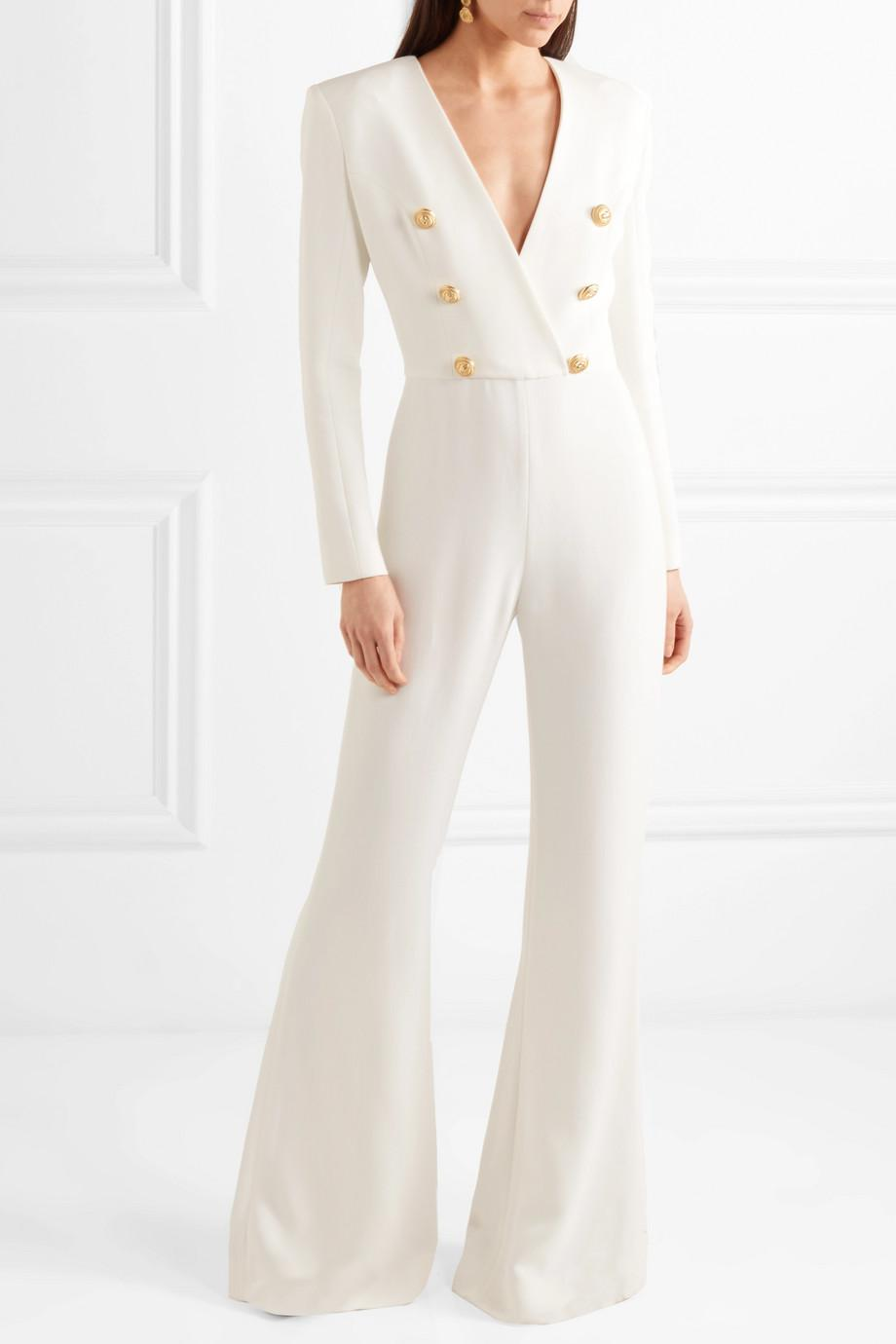 1f3ad76e47c Lyst - Balmain Button-embellished Crepe Jumpsuit in White