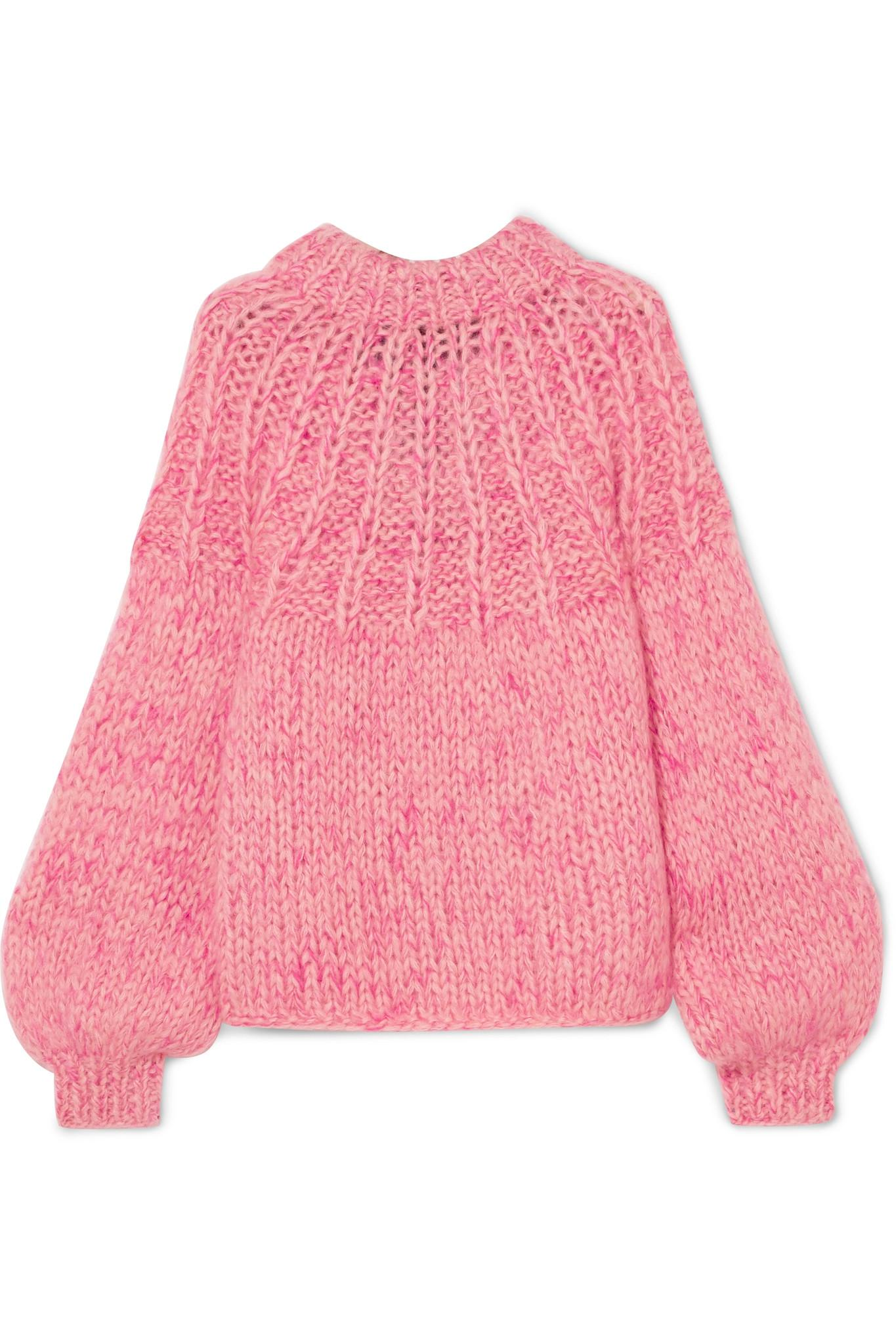 Julliard Bow-embellished Mohair And Wool-blend Sweater - Pink Ganni Free Shipping Supply Sale Online Shopping Visa Payment Cheap Price vpbO5U2jQh
