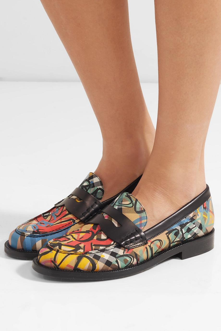 Leather-trimmed Printed Canvas Loafers - Black Burberry KSILjDY6lq