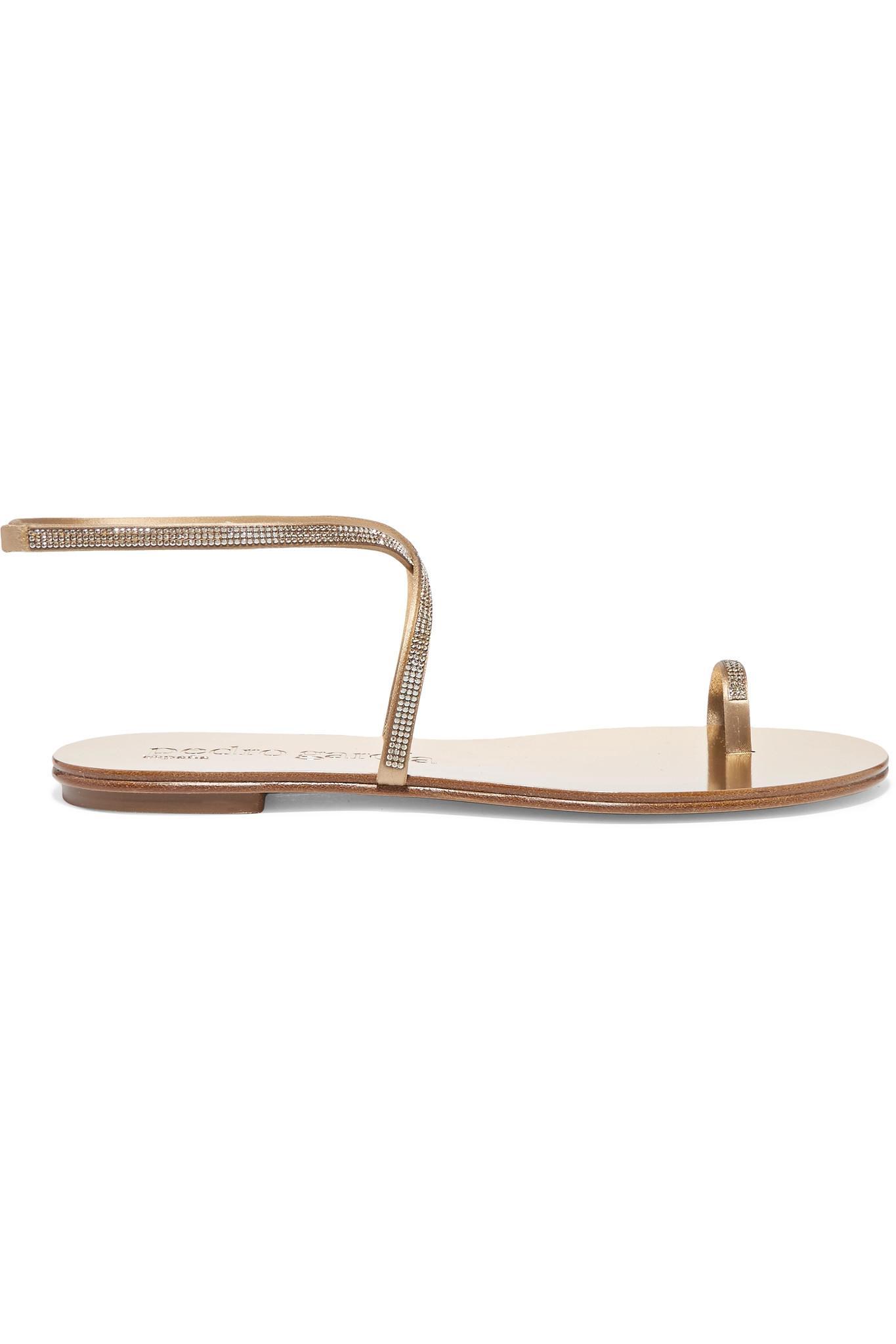 280963c34cc7f Pedro Garcia. Women s Metallic Sonay Swarovski Crystal-embellished Satin  Sandals