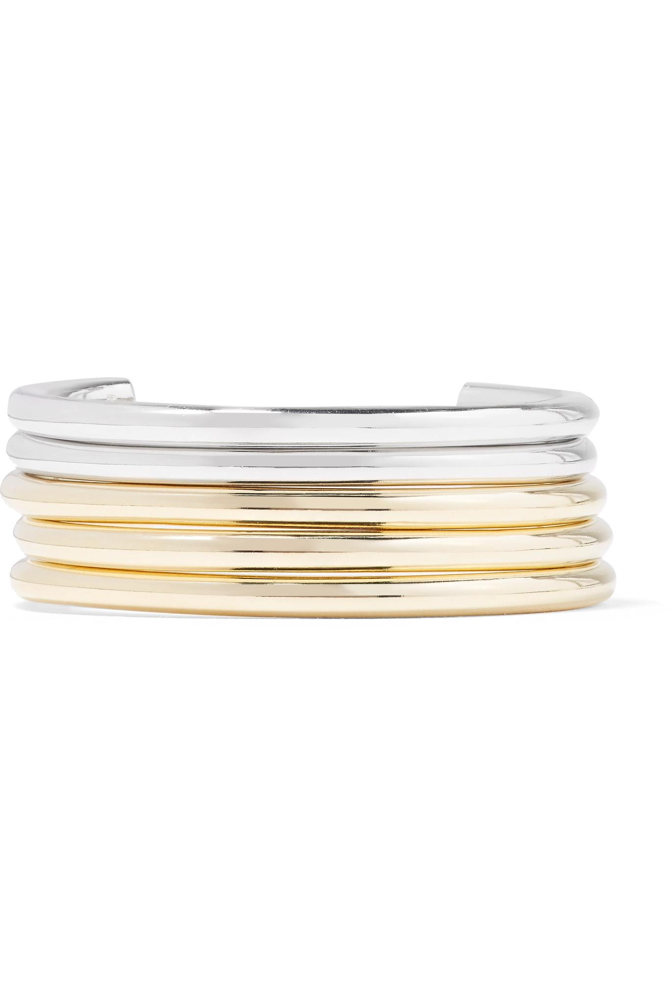 Jennifer Fisher Set Of Five Gold And Silver-plated Cuffs wRxay3