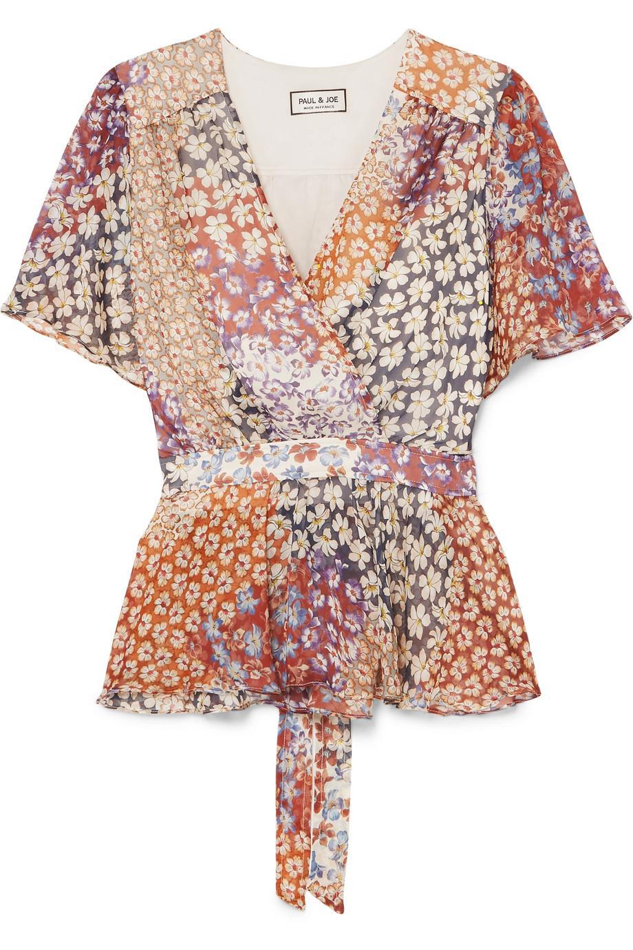 Genuine Cheap Online Wrap-effect Floral-print Silk-chiffon Top - Plum Paul & Joe Websites Sale Online Discount Limited Edition Cheap Sale 2018 Unisex Countdown Package 3qNczSgqPt