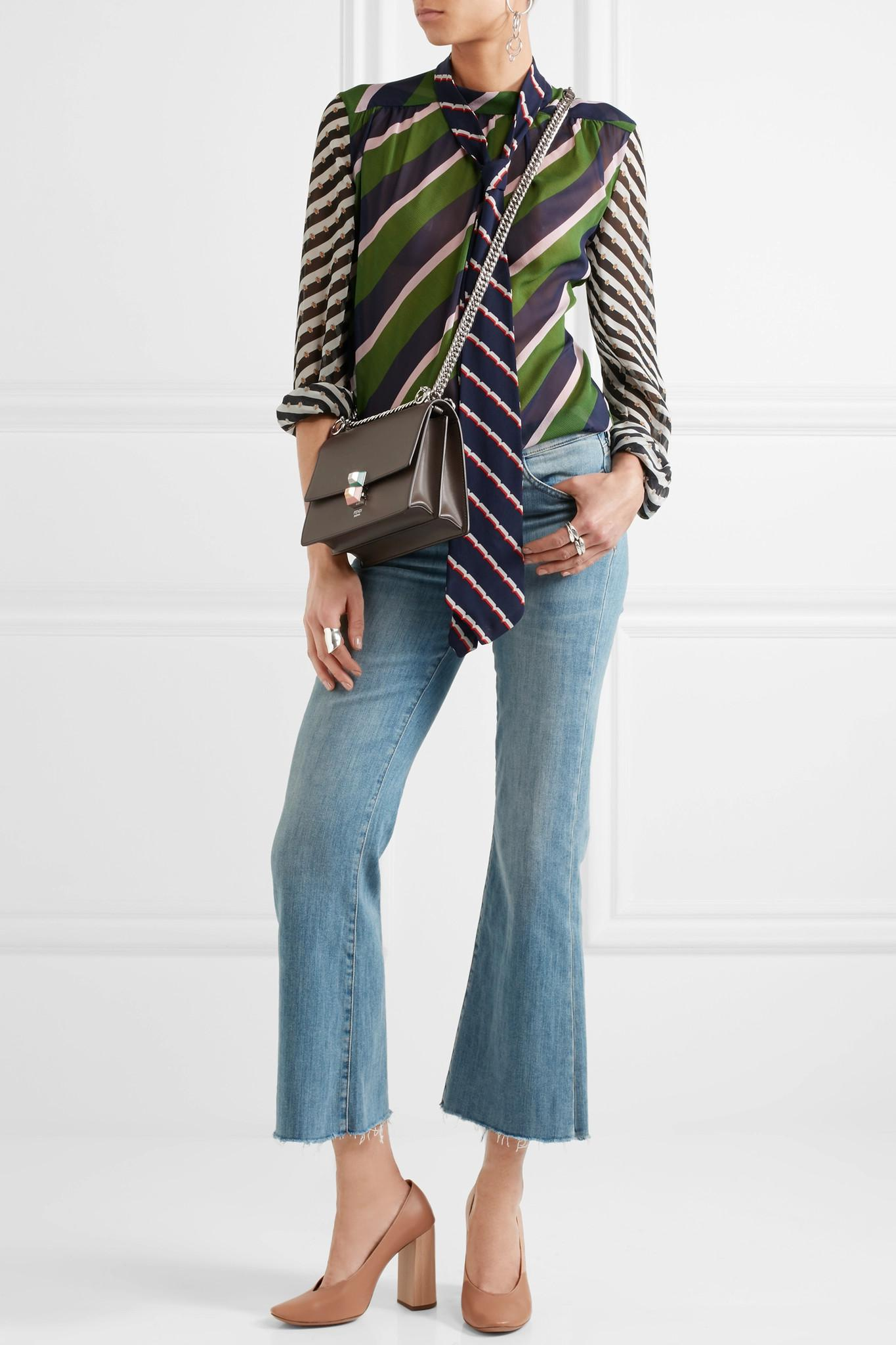 99c61be3398b Lyst - Fendi Kan I Leather Mini Shoulder Bag in Gray