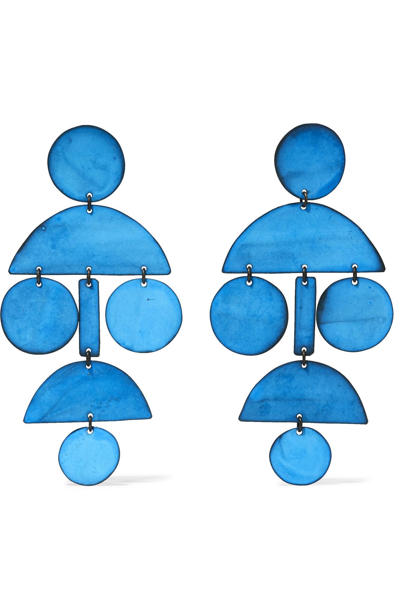 Annie Costello Brown Rain Oxidized Earrings - Blue lEJVy2q