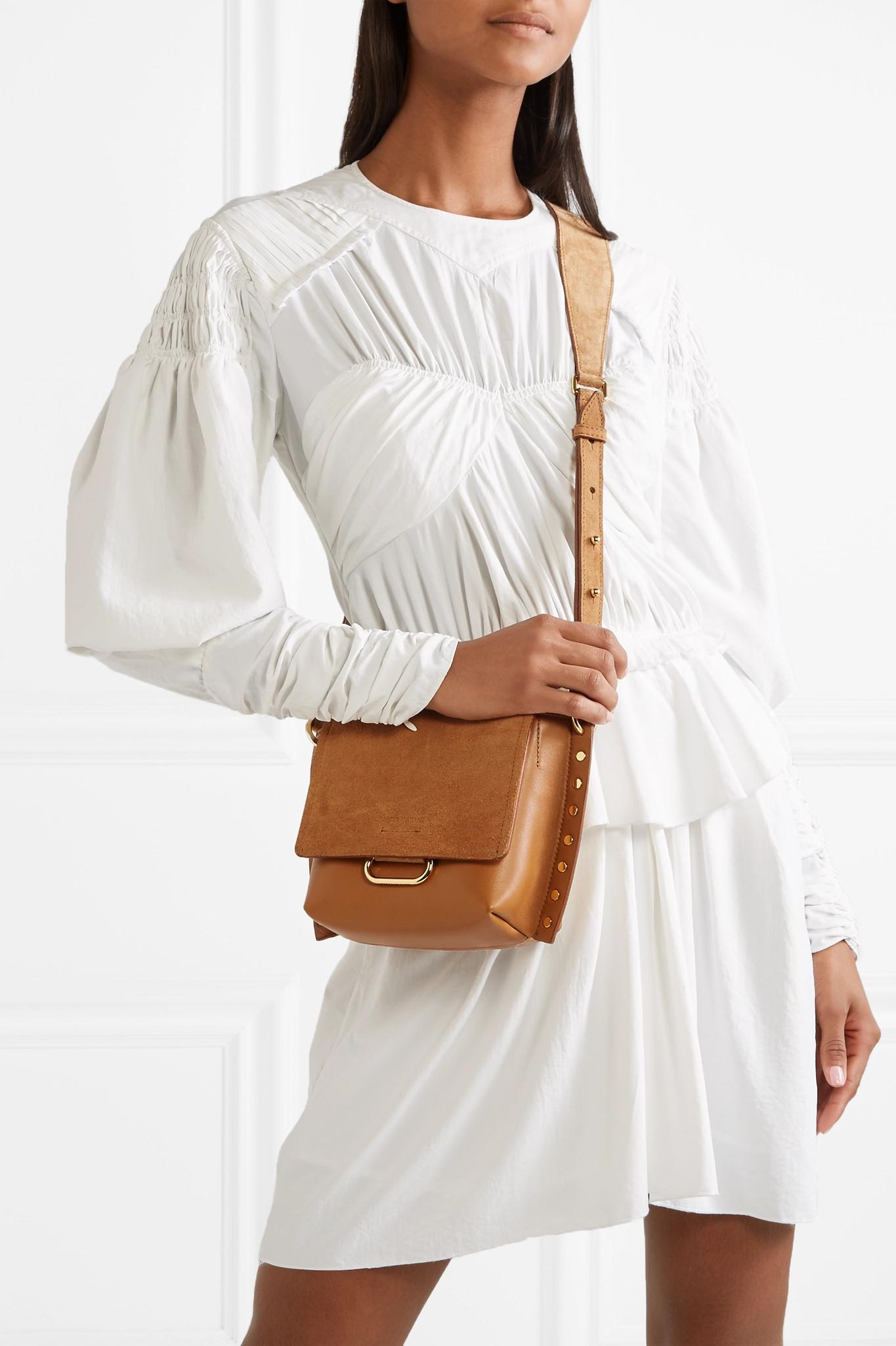 c594a4bc33 Isabel Marant - Brown Kleny Embellished Leather And Suede Shoulder Bag -  Lyst. View fullscreen
