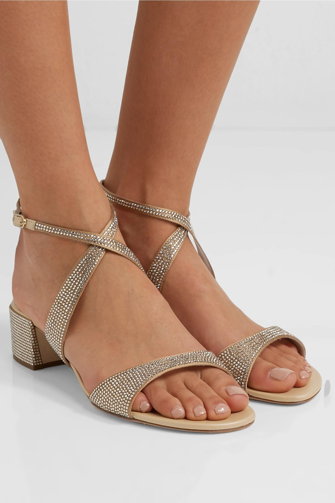 4b1540e153e74f Rene Caovilla - Krisabrita Crystal-embellished Metallic Leather Sandals -  Lyst. View fullscreen