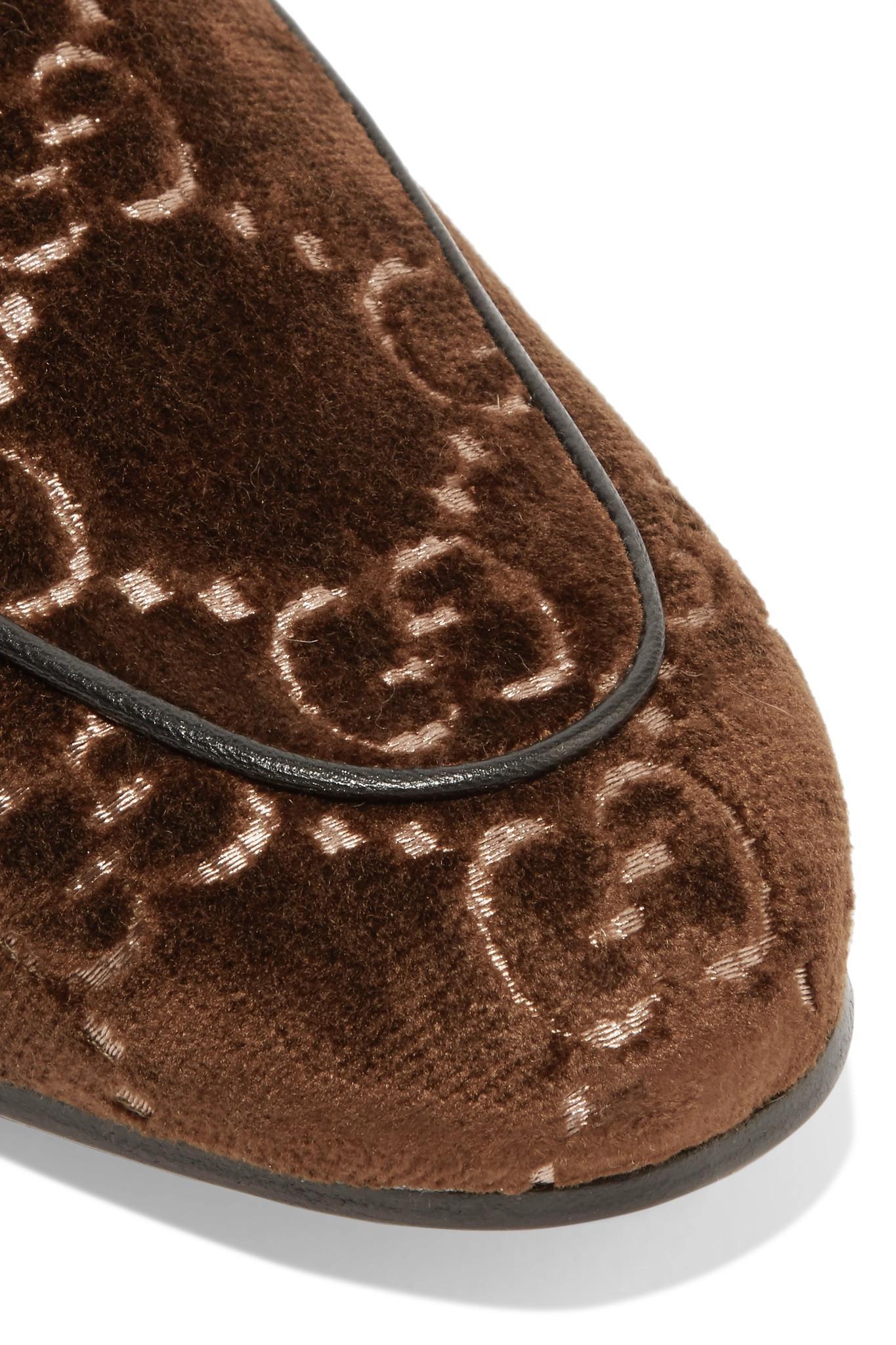 adf602a9ba4 ... Horsebit-detailed Shearling-lined Logo-jacquard Slippers - Lyst. View  fullscreen