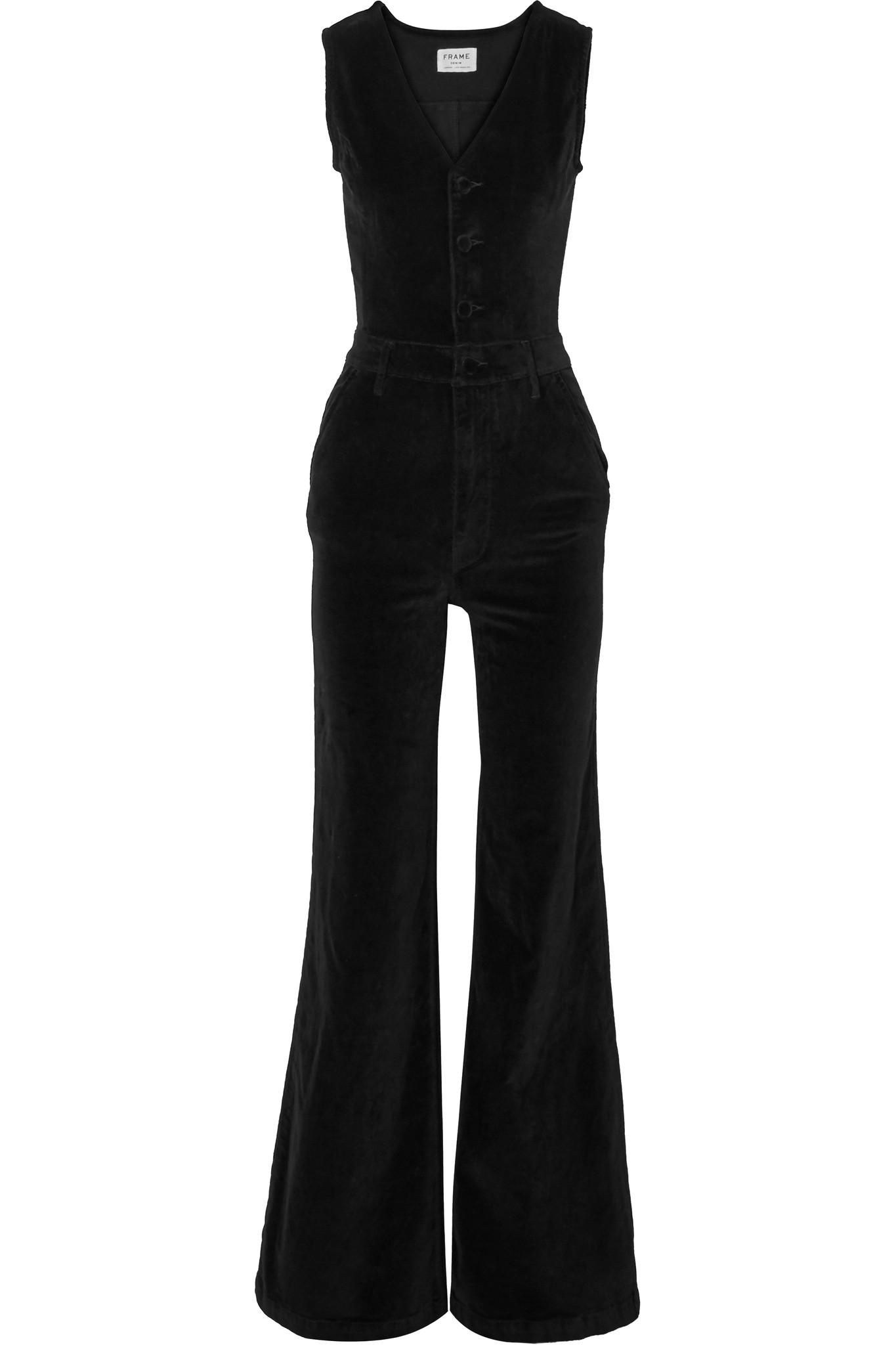 Frame Velvet Jumpsuit in Black - Lyst