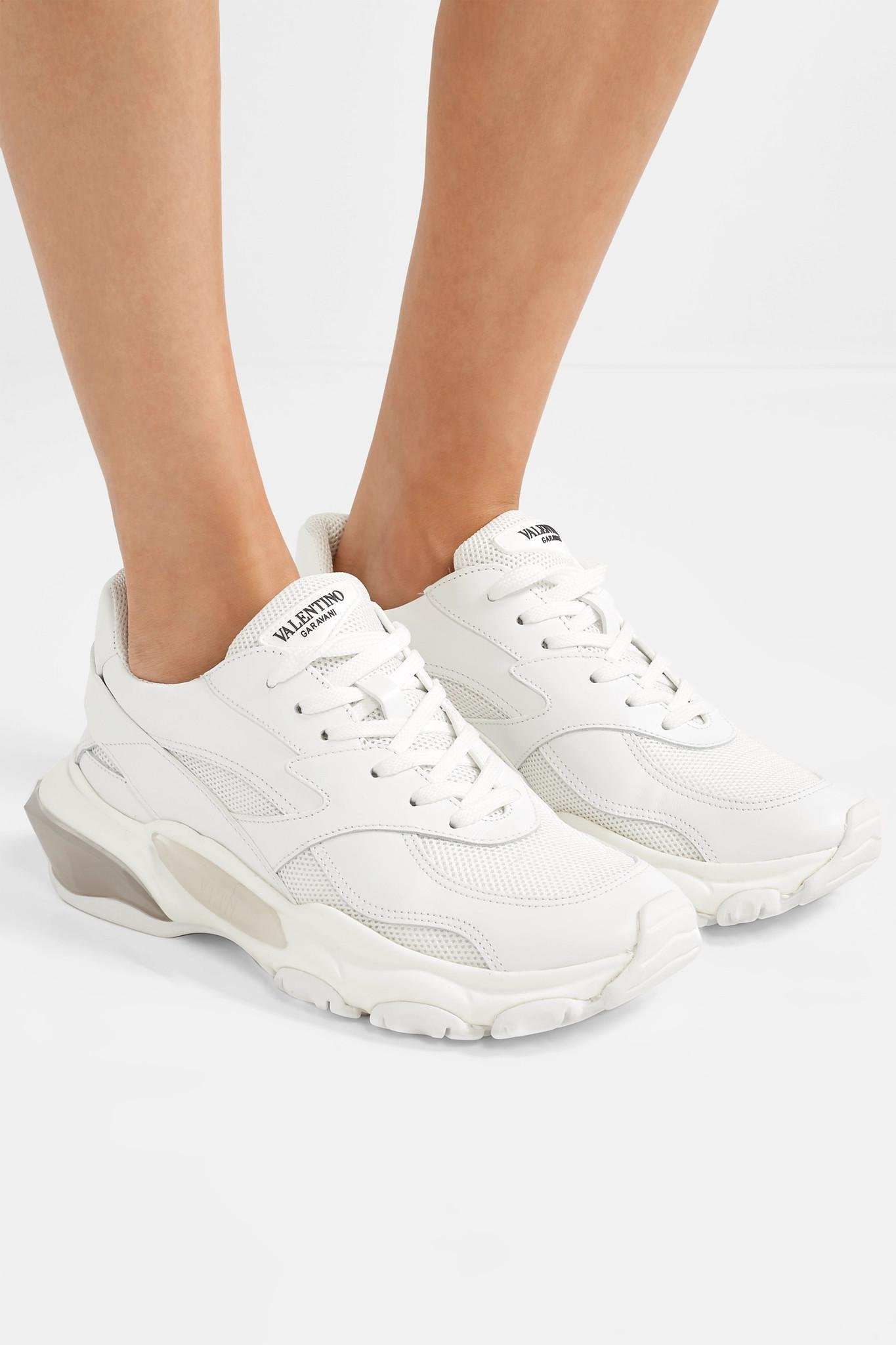 31187094f7c2d Valentino Garavani Bounce Leather And Mesh Sneakers in White - Lyst