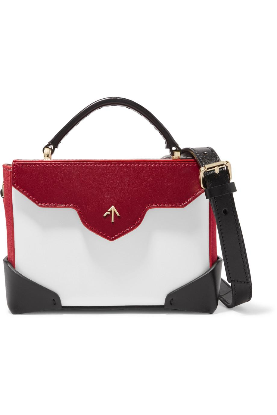 Bold Color-block Leather And Suede Shoulder Bag - White Manu Atelier 9OicYETPpN
