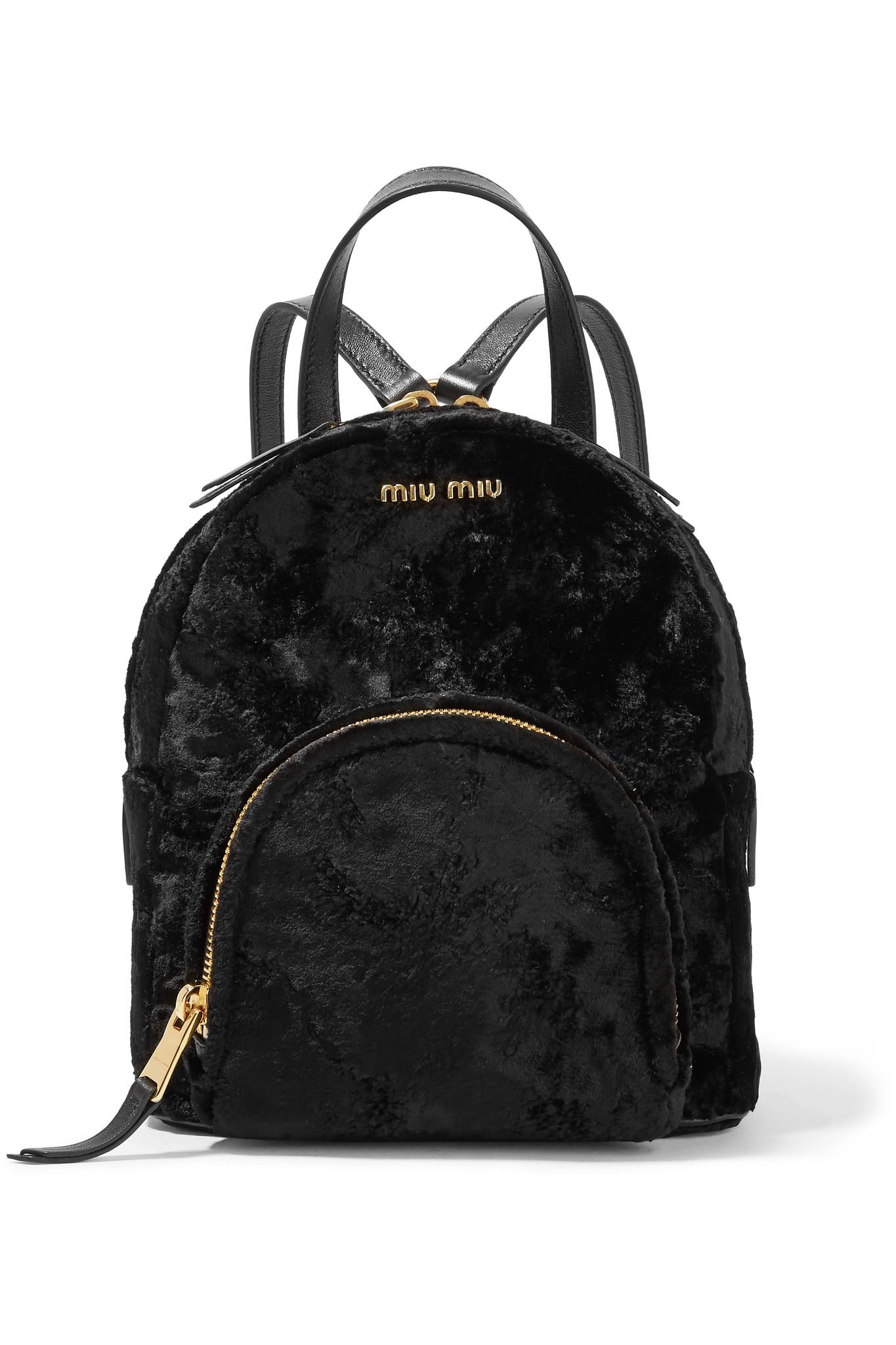 Miu Miu Leather-trimmed Velvet Backpack in Black - Lyst cec4b70ef7125