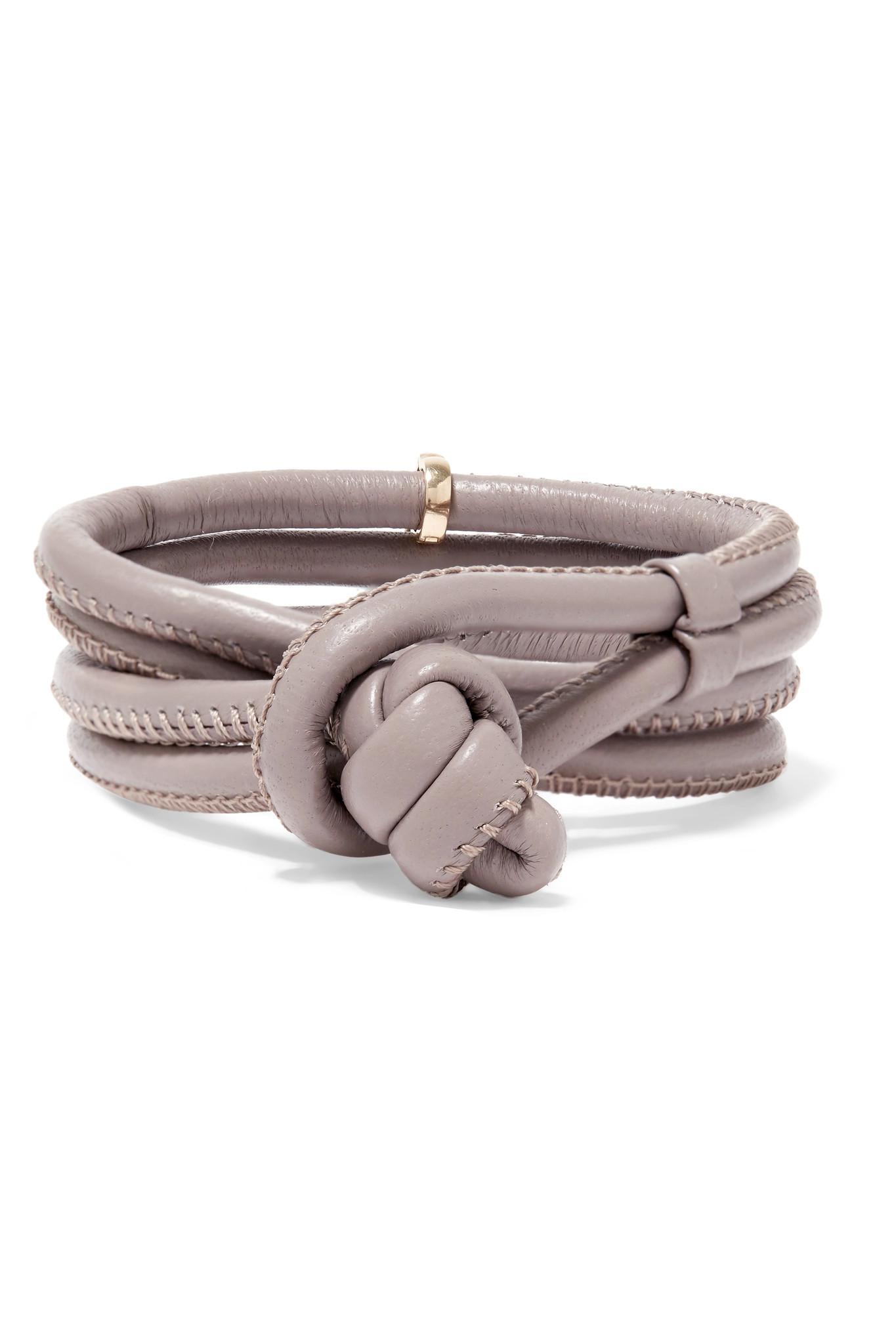 Mizuki 14-karat Gold, Leather And Pearl Wrap Bracelet - Gray