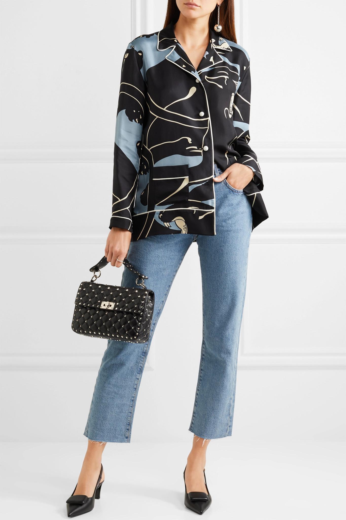 017426c287 Lyst Fullscreen Medium Bag Spike Shoulder Valentino Quilted Rockstud Black  View Leather wS68qH1