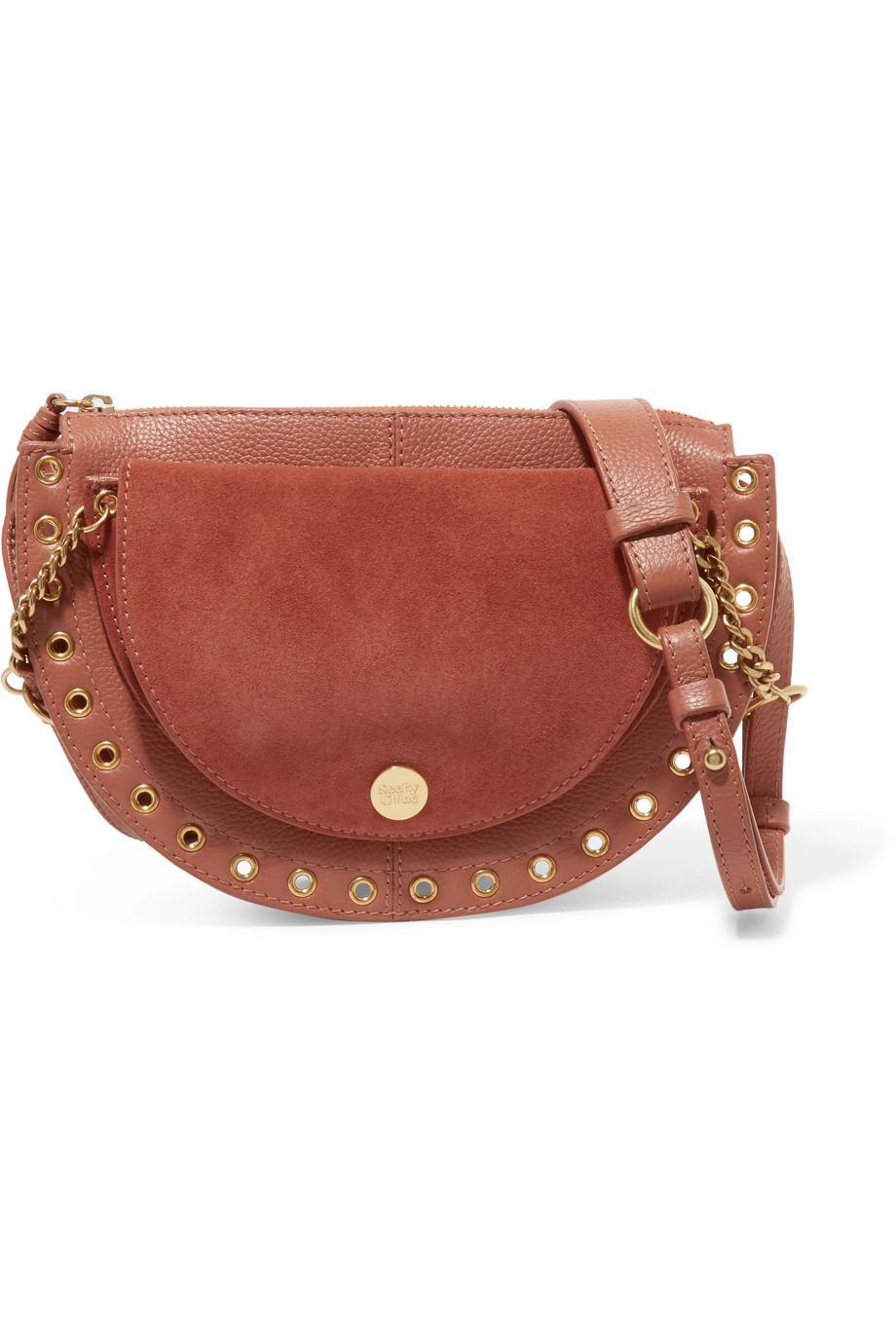 Kriss Mini Eyelet-embellished Textured-leather And Suede Shoulder Bag - Black See By Chlo KPcHVp