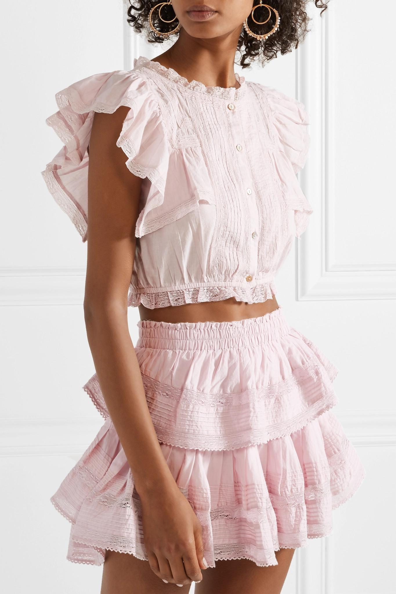 Visit New Cheap Online Nora Ruffled Lace-trimmed Cotton-voile Top - Lavender LoveShackFancy Discount Order Free Shipping Explore TQIEdJcF
