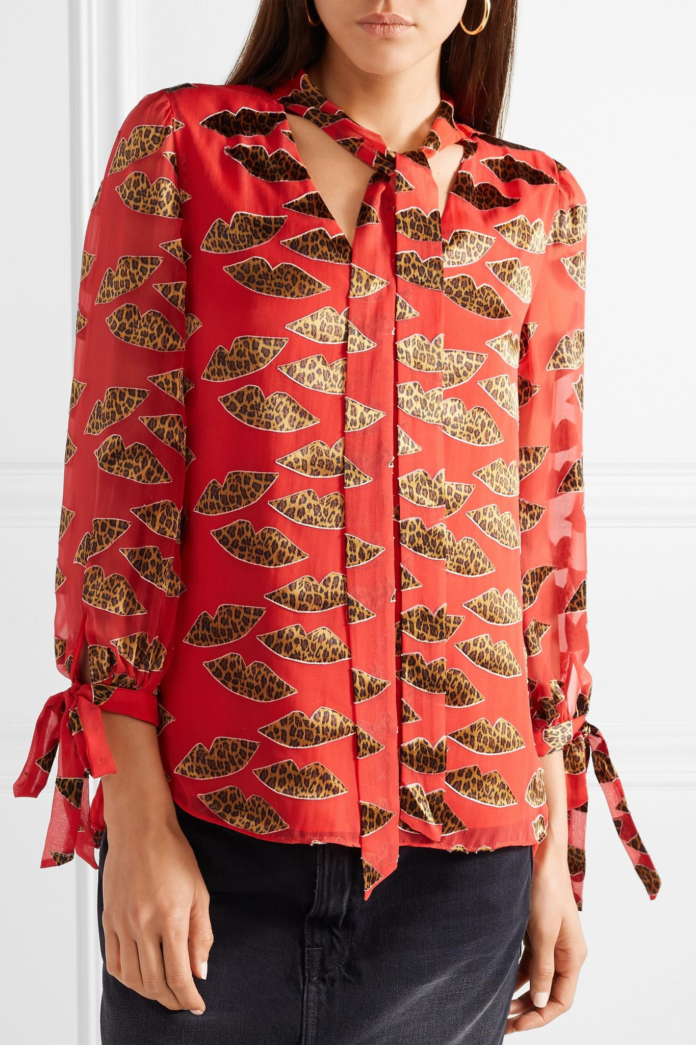 4ce08da91488 Lyst - Alice + Olivia Shelia Devoré-chiffon Blouse in Red