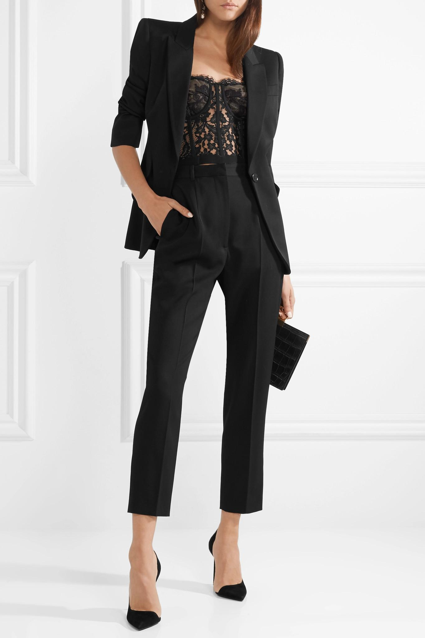 31ee619b8ad50 Alexander McQueen - Black Cotton-blend Sarabande Lace Bustier Top - Lyst.  View fullscreen