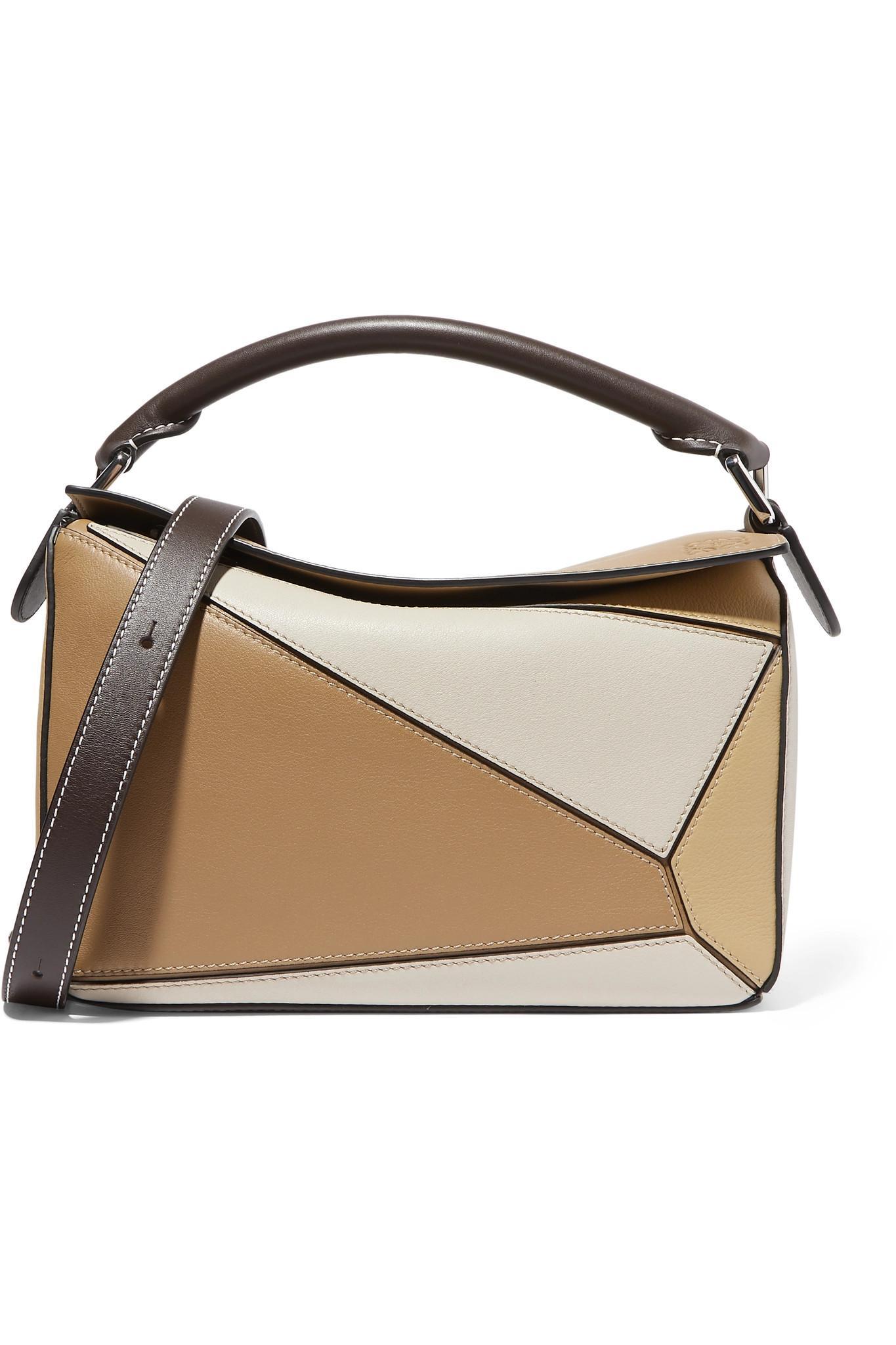 0344d369916c Loewe. Women s Natural Puzzle Small Color-block Textured-leather Shoulder  Bag