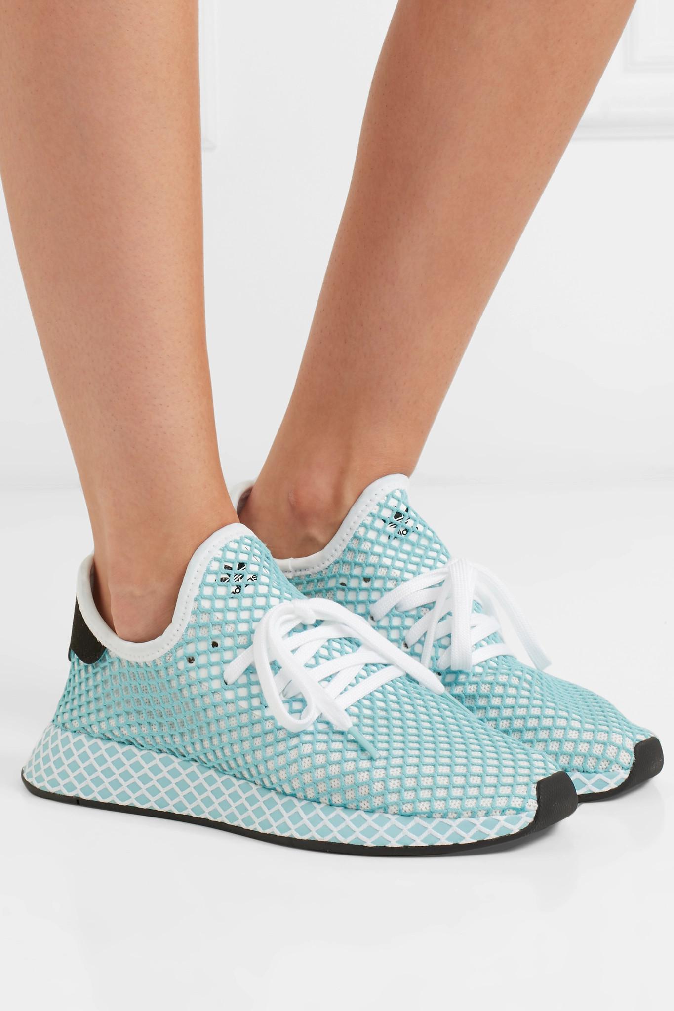the latest c9dd5 bd0f4 Adidas Originals - Blue + Parley Deerupt Runner Suede-trimmed Mesh Sneakers  - Lyst. View fullscreen