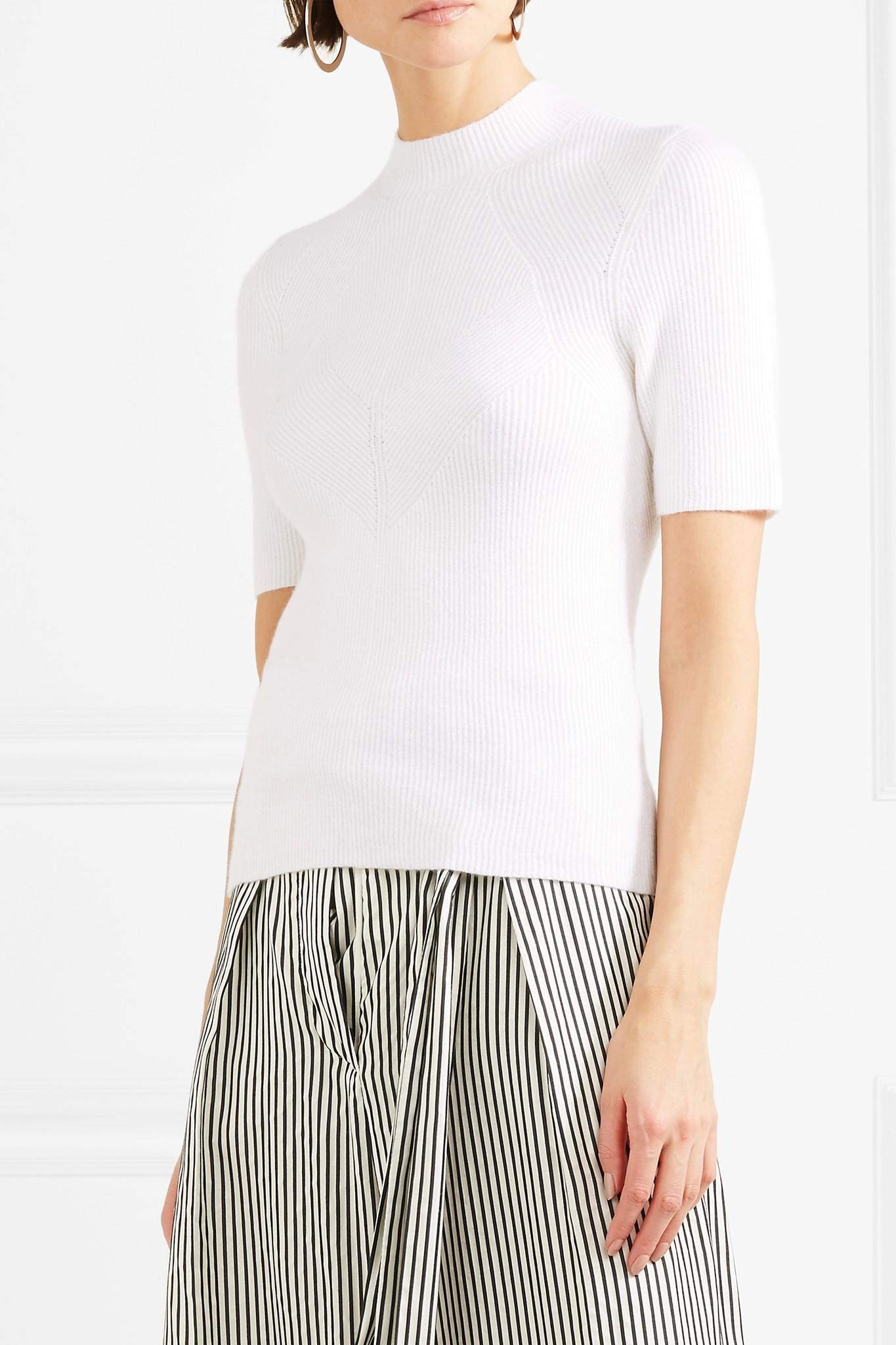 Ribbed Cashmere-blend Sweater - White Narciso Rodriguez Cheap Low Price Discount Fast Delivery Best Wholesale Discount In China New Cheap Online R34v5