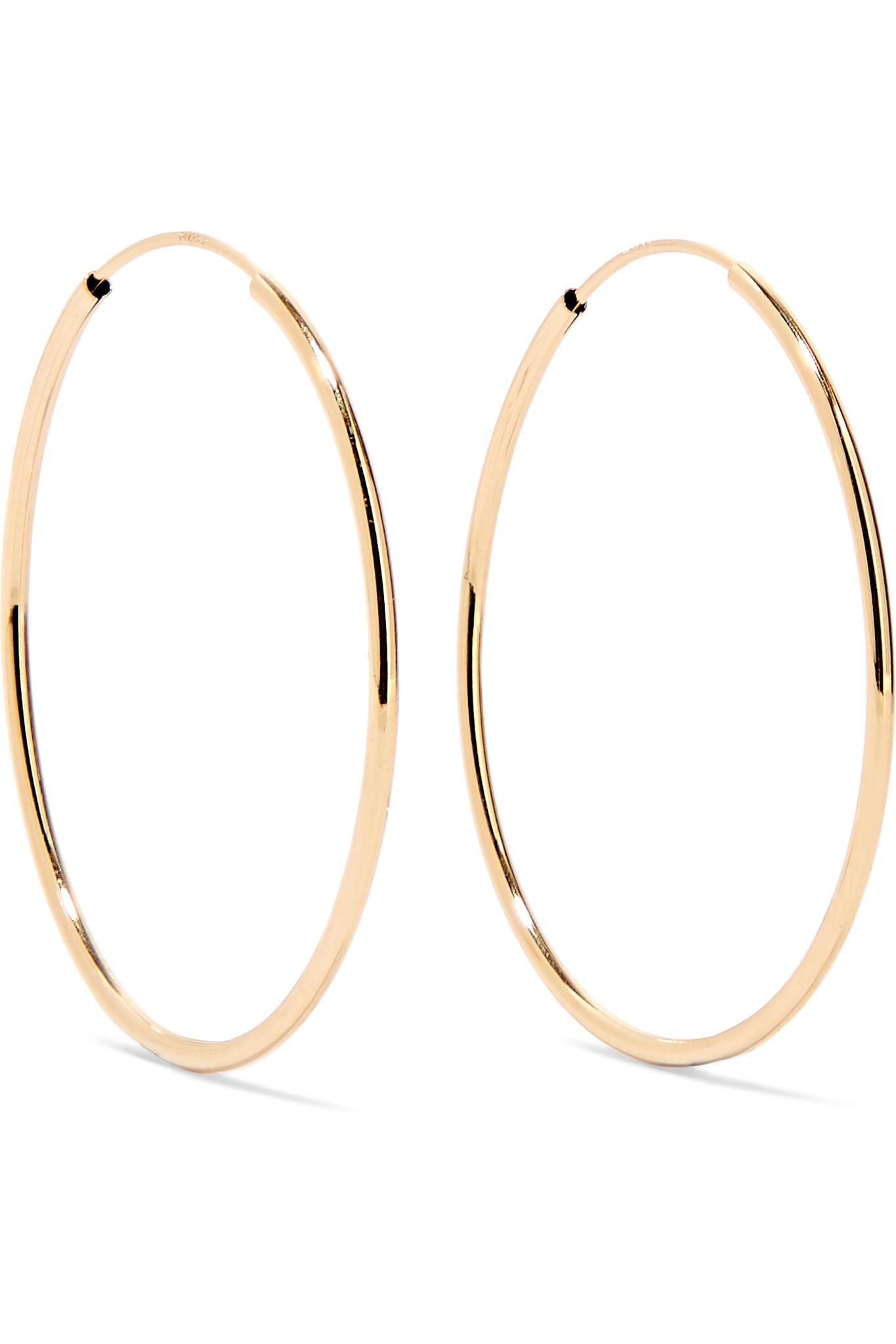 Lyst Loren Stewart Infinity 14 Karat Gold Hoop Earrings In Metallic