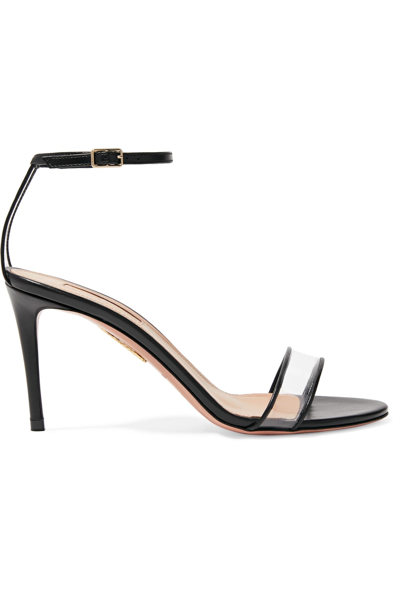 f6ba47c0b10 Lyst - Aquazzura Minimalist 85 Leather And Pvc Sandals in Black