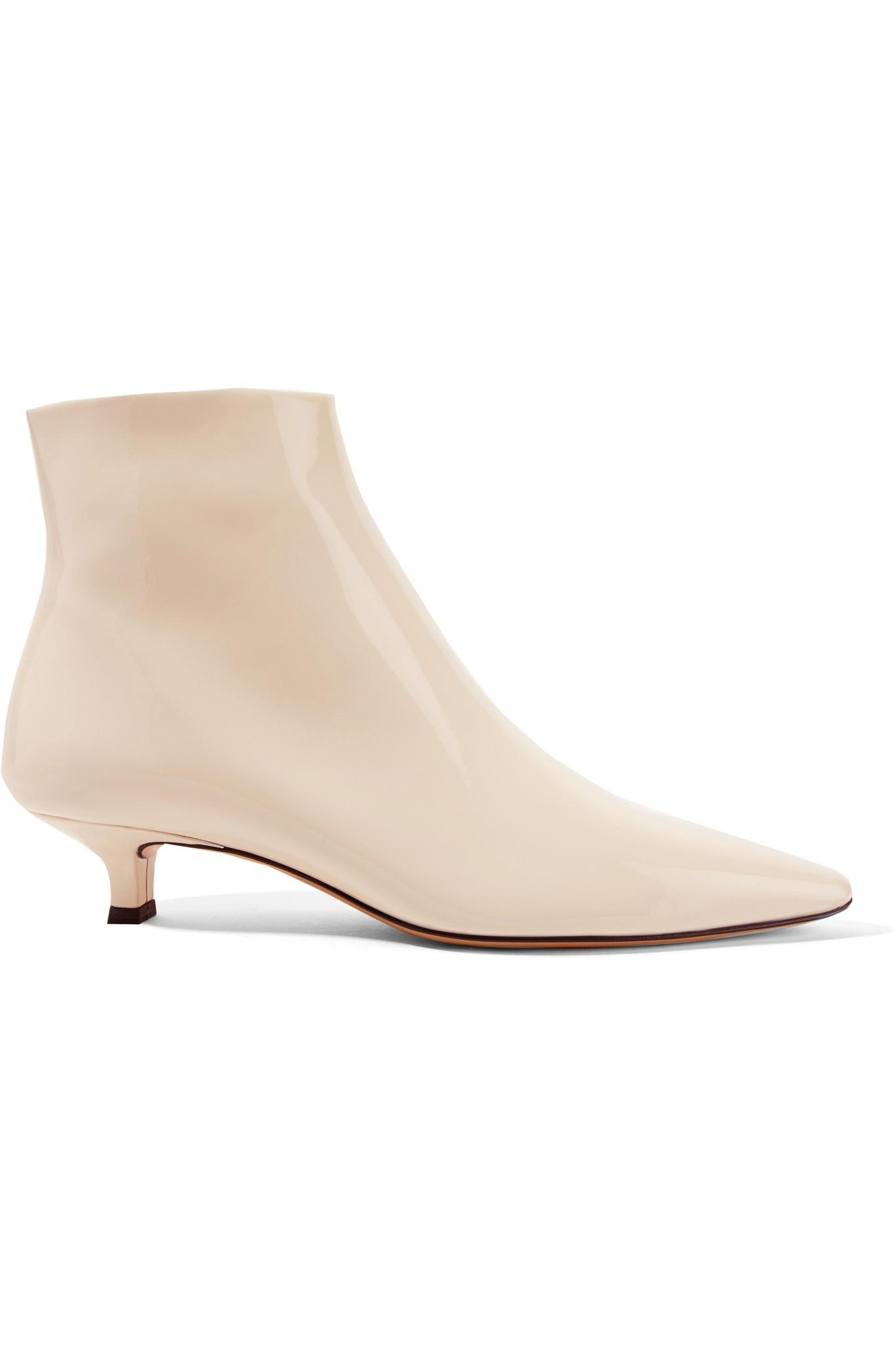 The Row. Women's White Coco Patent-leather Ankle Boots
