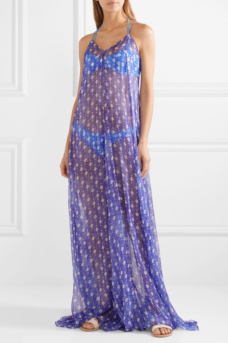 Clearance Online Amazon Ares Printed Metallic Silk-blend Chiffon Coverup - Blue Caroline Constas Outlet For Sale sCujH80aU