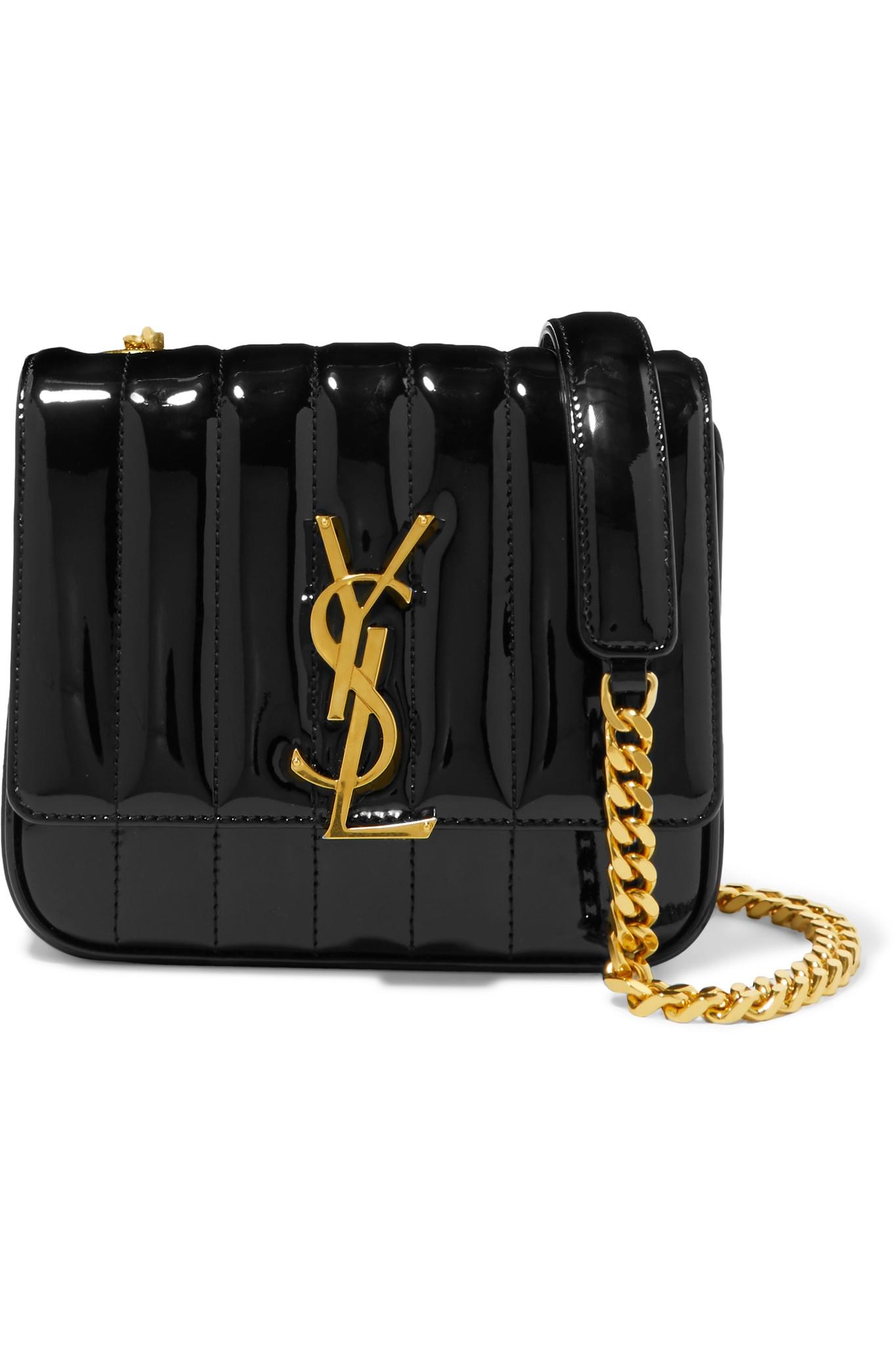 d1e593319a Saint Laurent Black Stripe Vicky Leather Shoulder Bag in Black ...