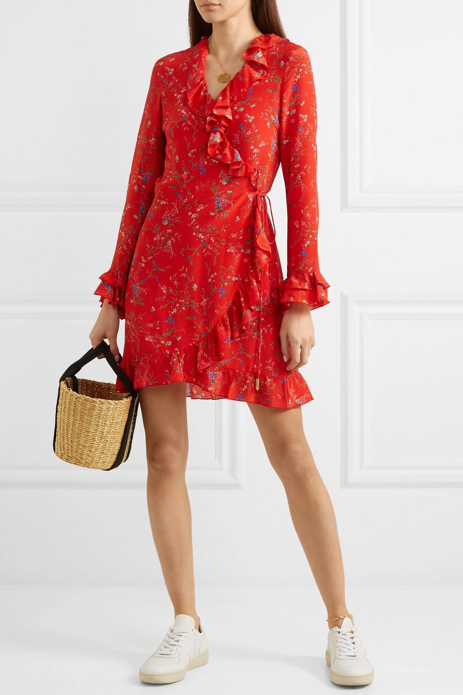 Fiesta Ruffled Floral-print Silk Wrap Dress - Red Paloma Blue RkO5NhO9il